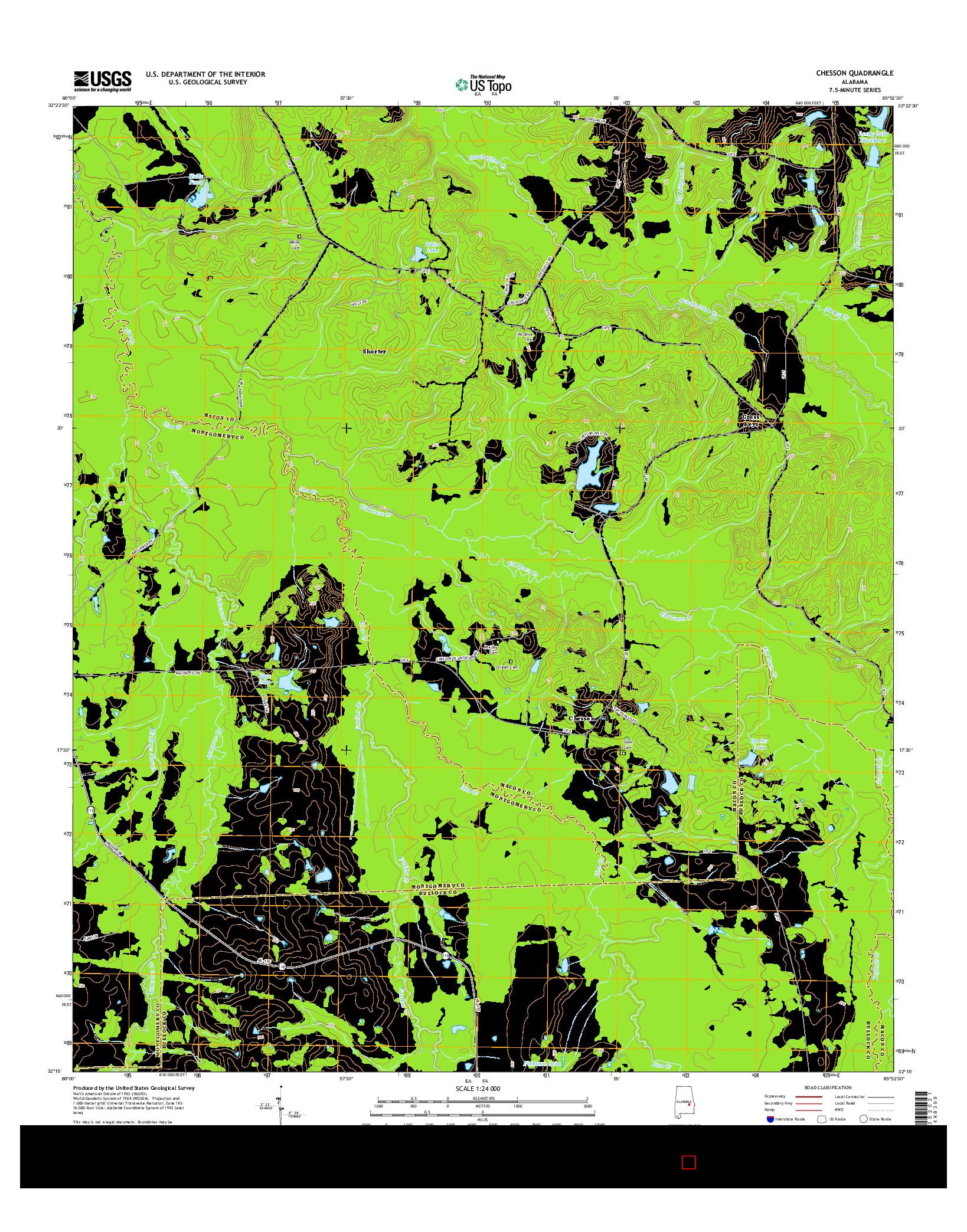 USGS US TOPO 7.5-MINUTE MAP FOR CHESSON, AL 2014