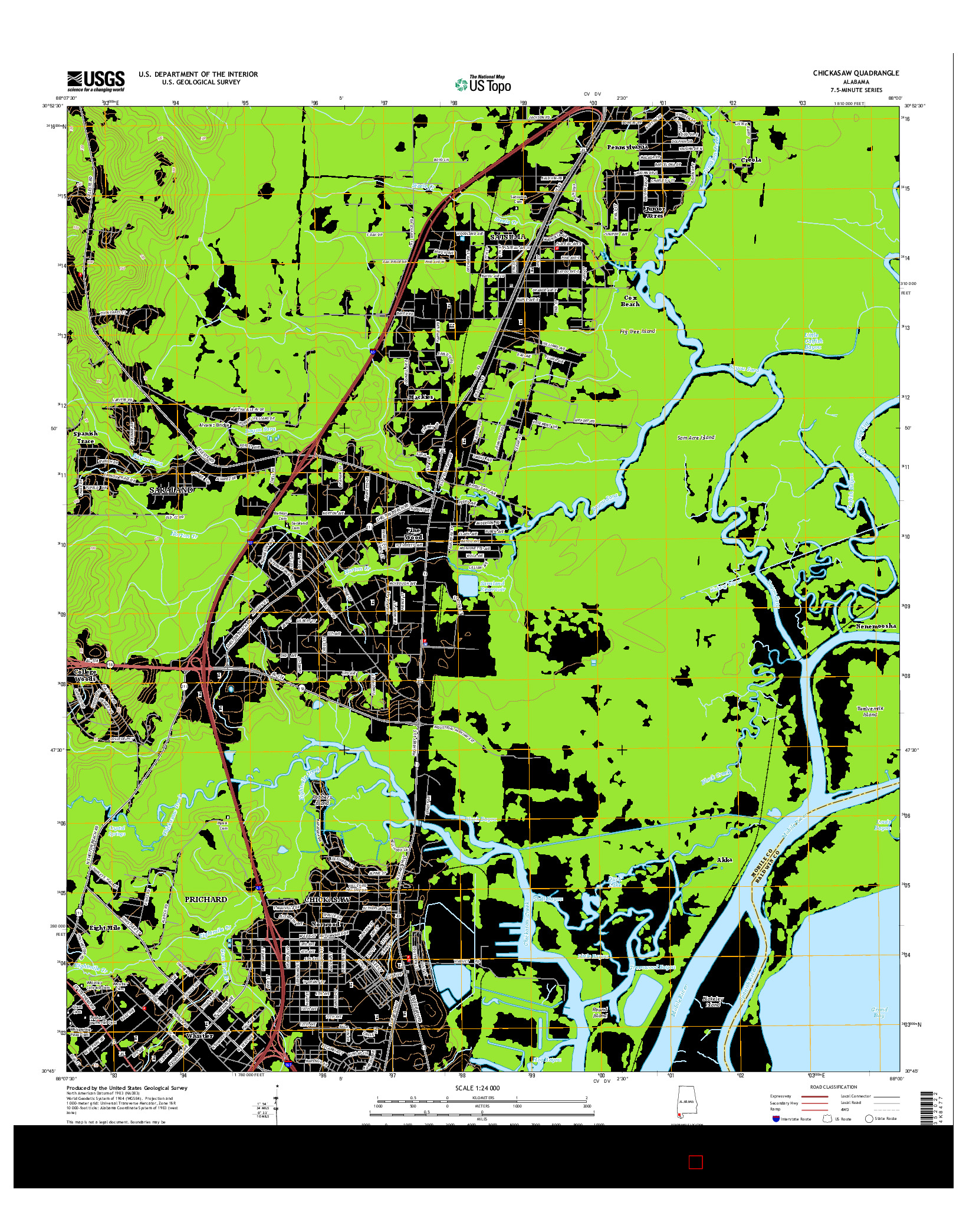 USGS US TOPO 7.5-MINUTE MAP FOR CHICKASAW, AL 2014