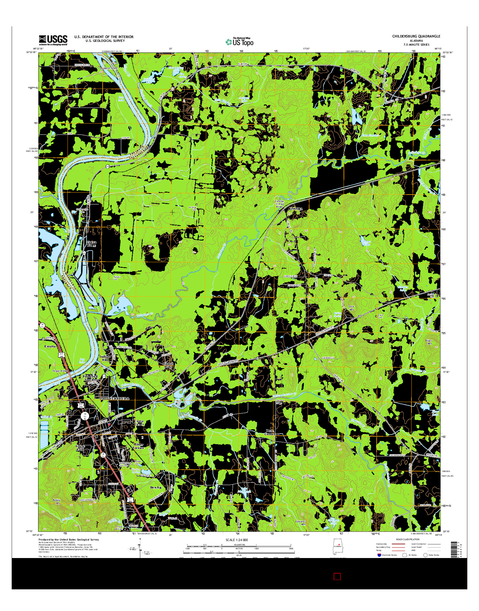 USGS US TOPO 7.5-MINUTE MAP FOR CHILDERSBURG, AL 2014