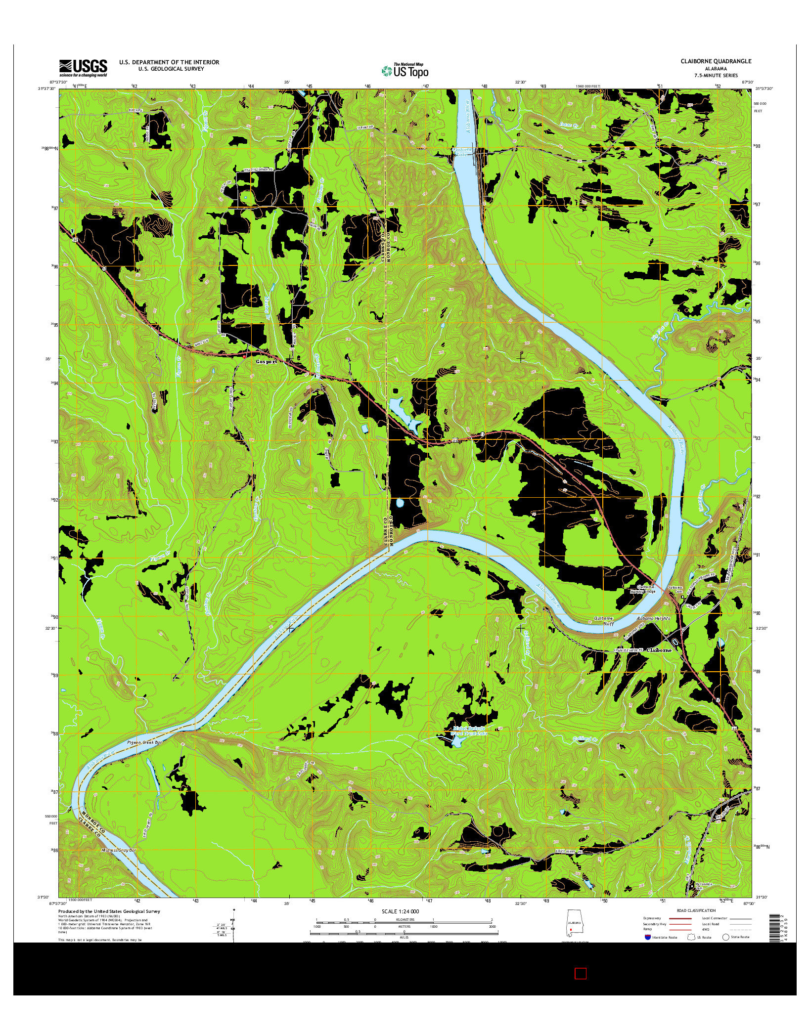 USGS US TOPO 7.5-MINUTE MAP FOR CLAIBORNE, AL 2014