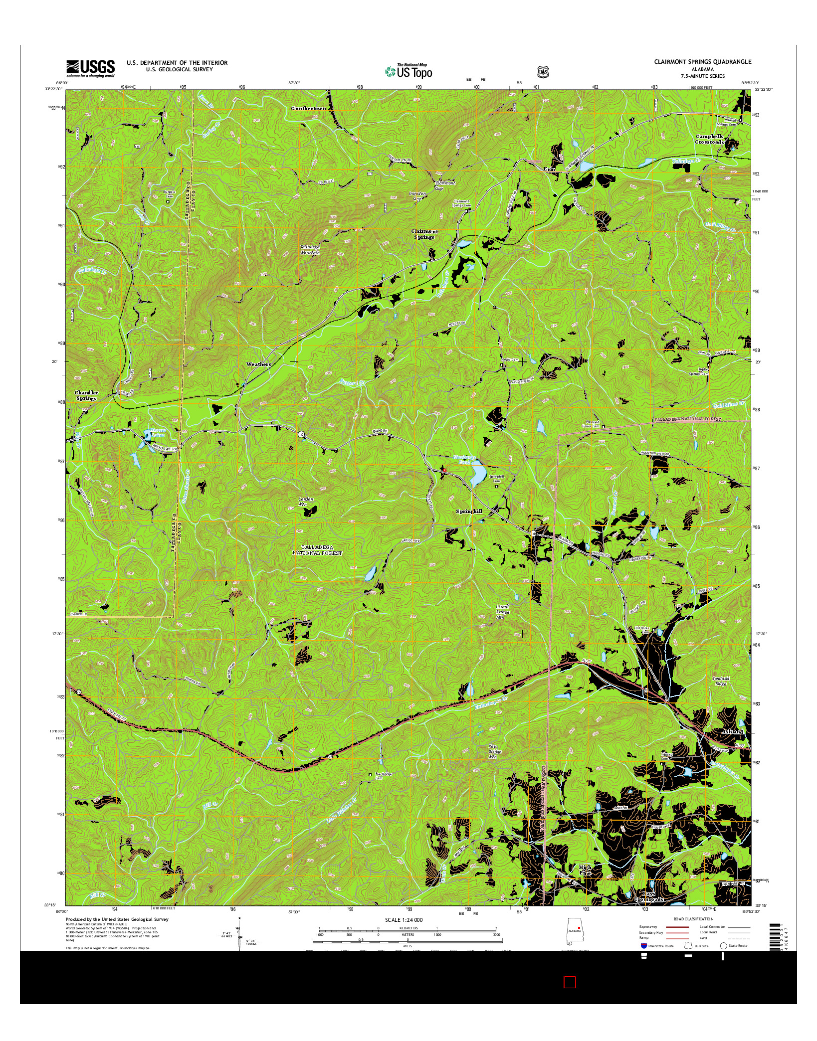 USGS US TOPO 7.5-MINUTE MAP FOR CLAIRMONT SPRINGS, AL 2014