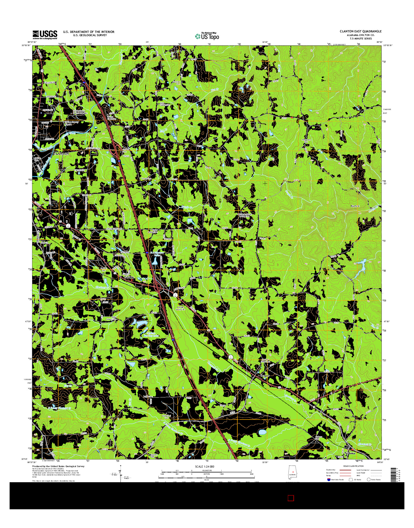 USGS US TOPO 7.5-MINUTE MAP FOR CLANTON EAST, AL 2014