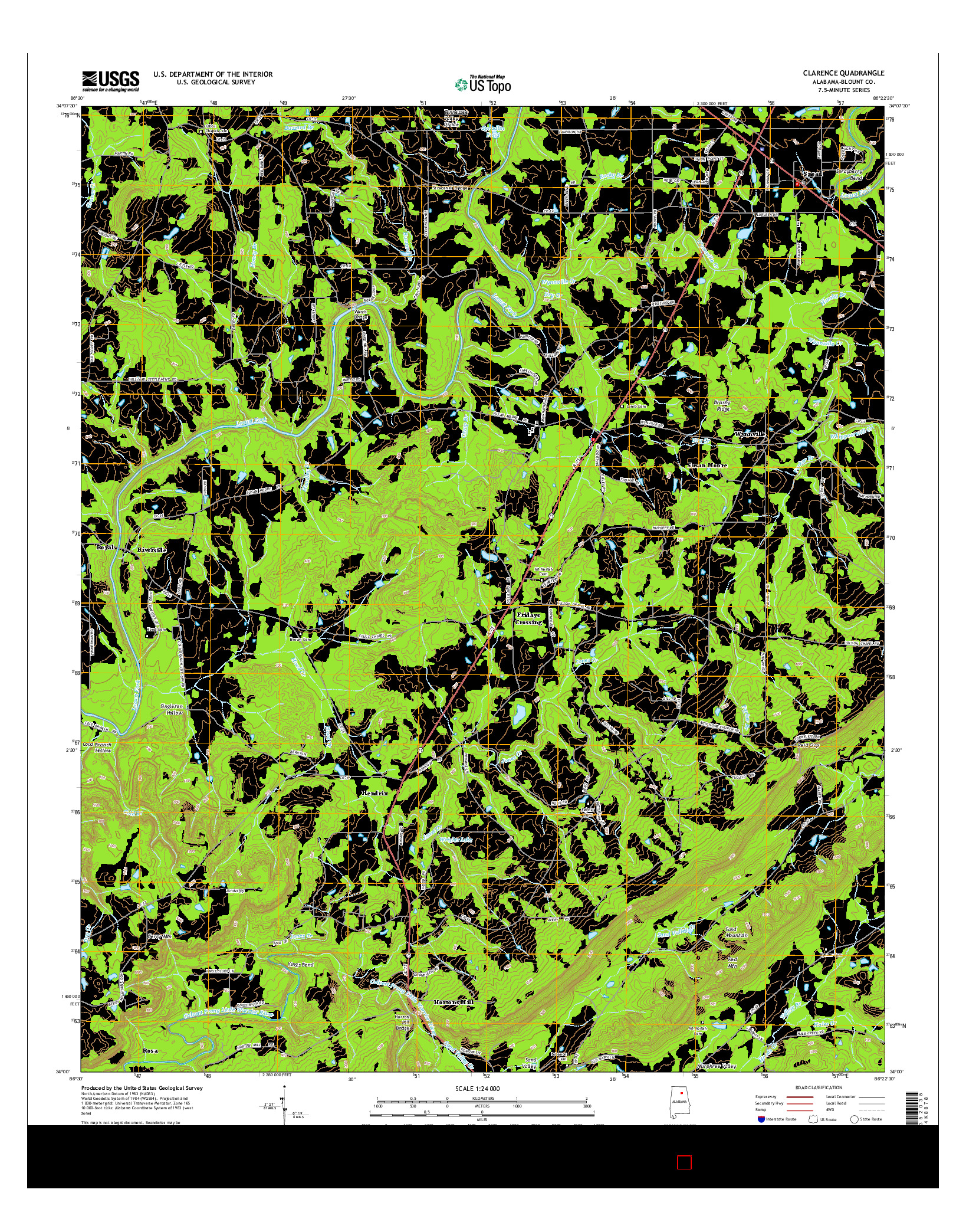 USGS US TOPO 7.5-MINUTE MAP FOR CLARENCE, AL 2014