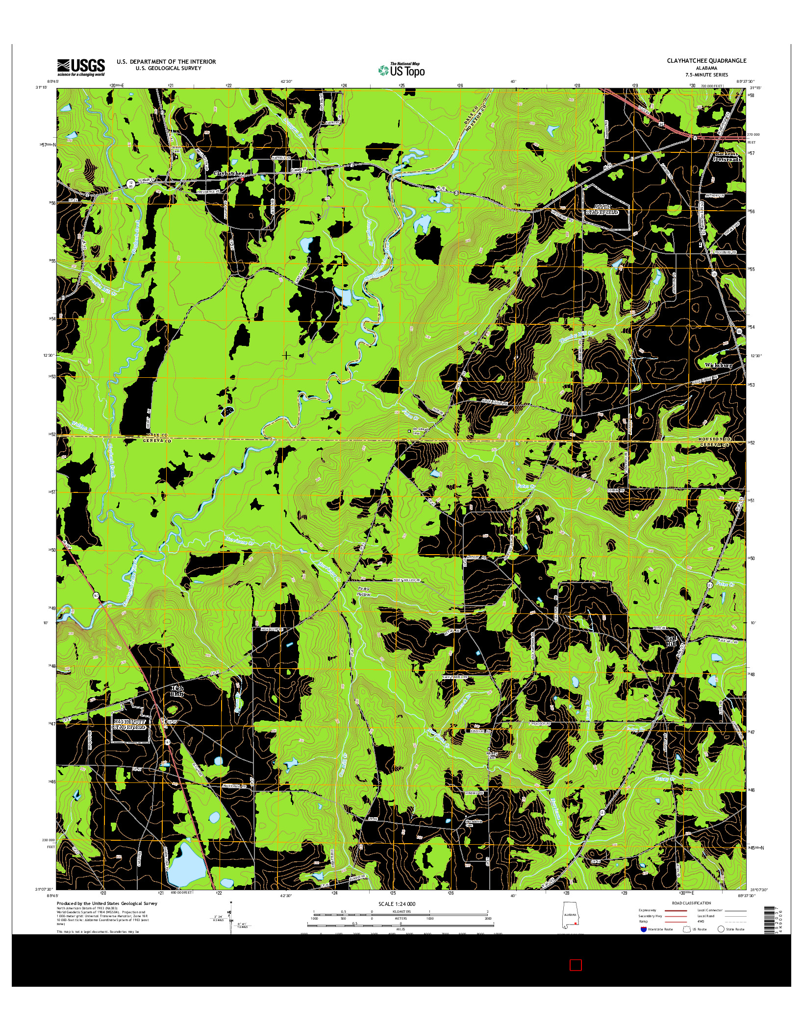 USGS US TOPO 7.5-MINUTE MAP FOR CLAYHATCHEE, AL 2014