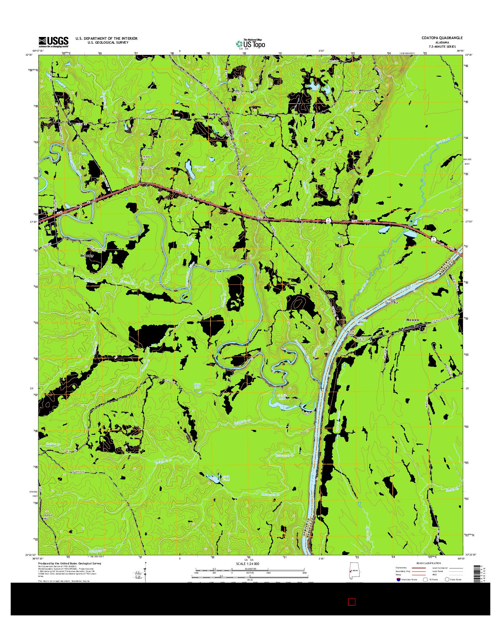 USGS US TOPO 7.5-MINUTE MAP FOR COATOPA, AL 2014