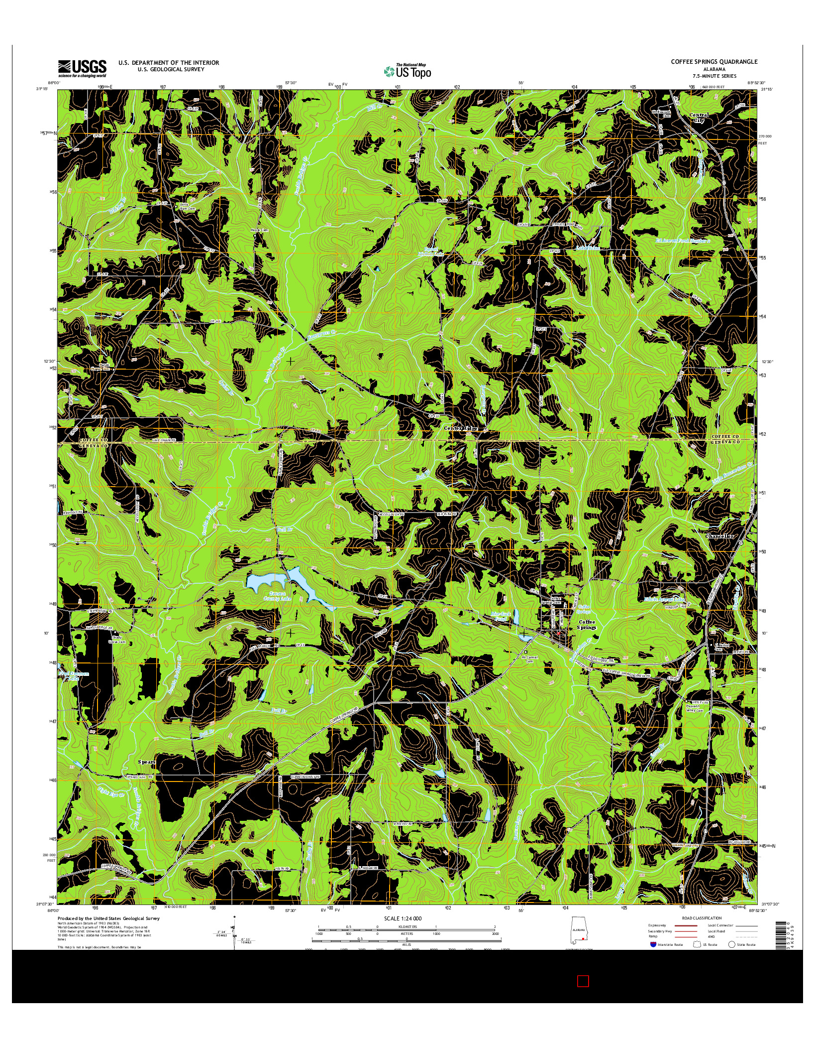 USGS US TOPO 7.5-MINUTE MAP FOR COFFEE SPRINGS, AL 2014