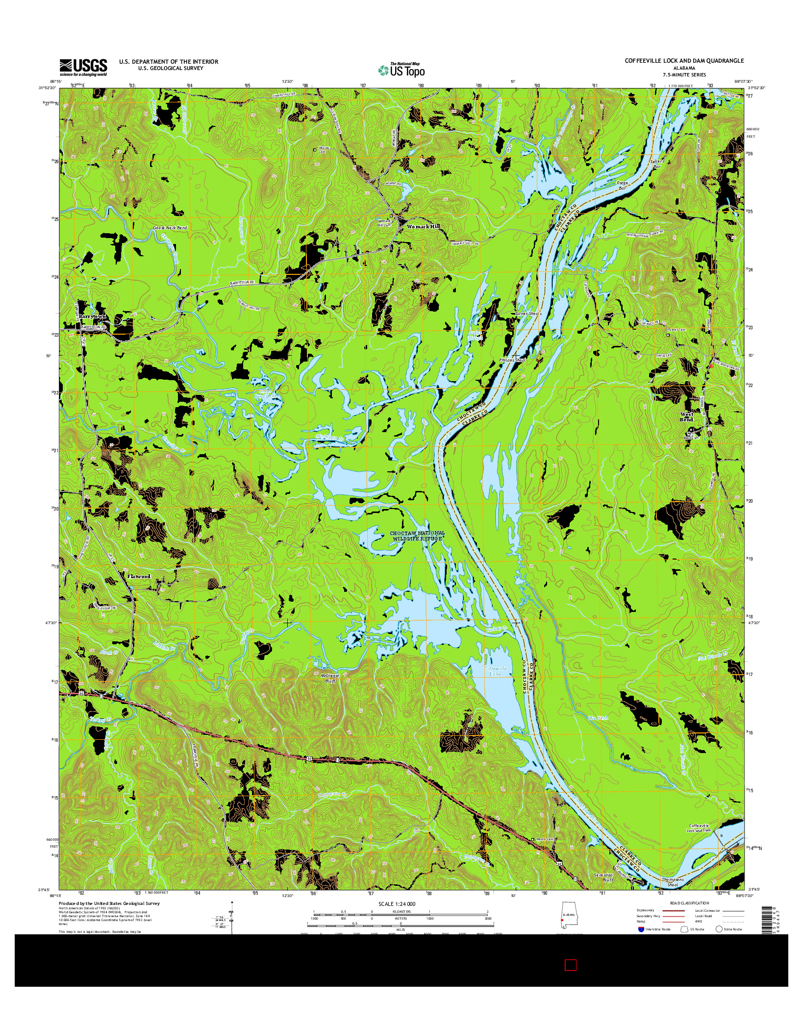 USGS US TOPO 7.5-MINUTE MAP FOR COFFEEVILLE LOCK AND DAM, AL 2014