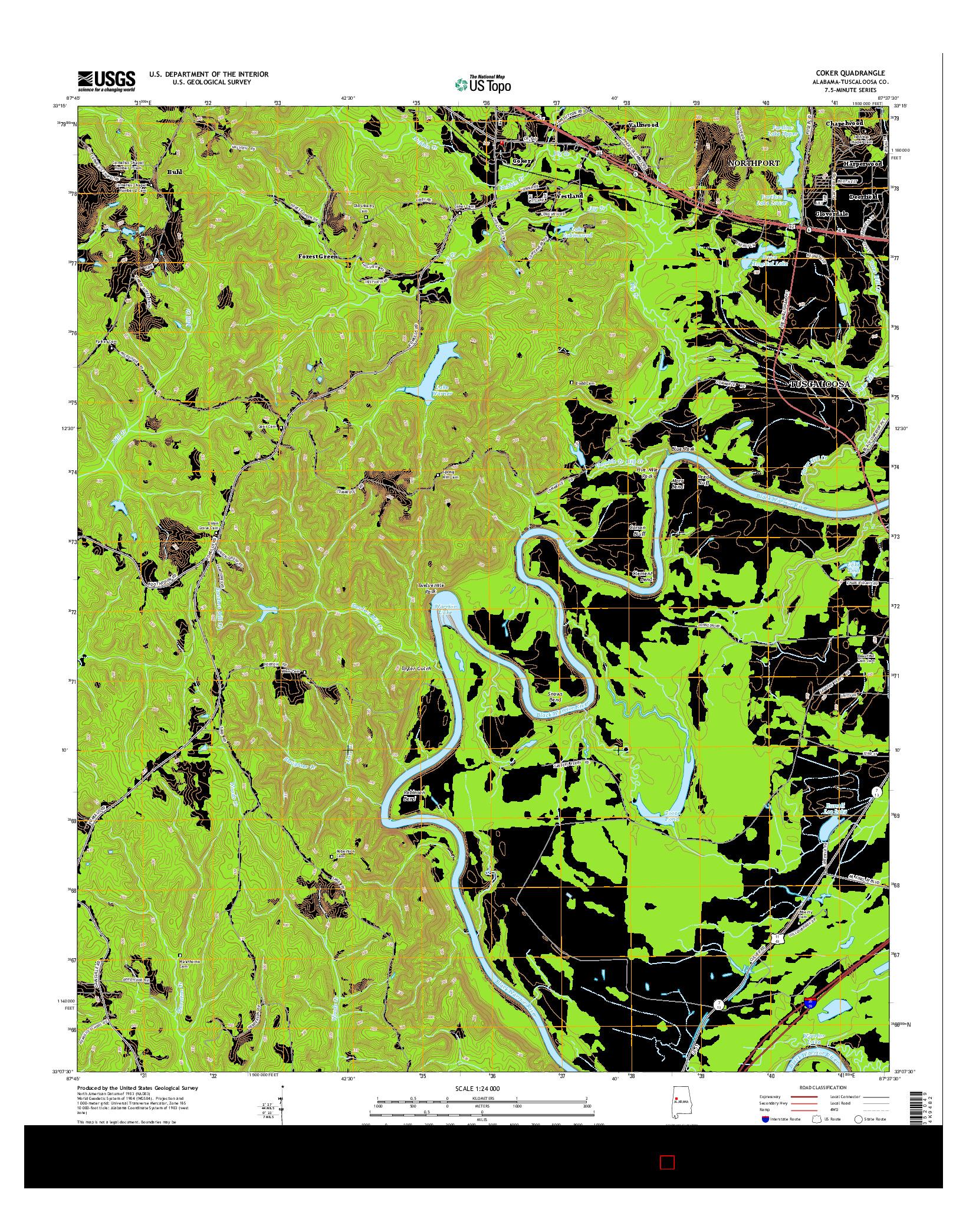 USGS US TOPO 7.5-MINUTE MAP FOR COKER, AL 2014