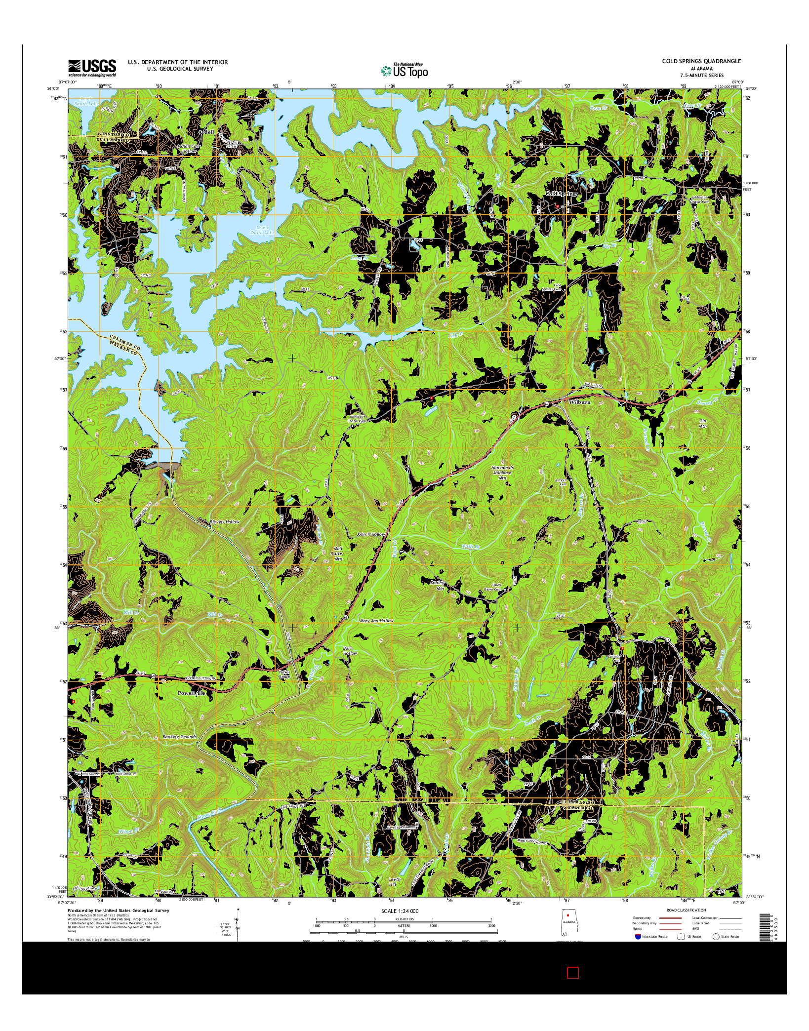 USGS US TOPO 7.5-MINUTE MAP FOR COLD SPRINGS, AL 2014