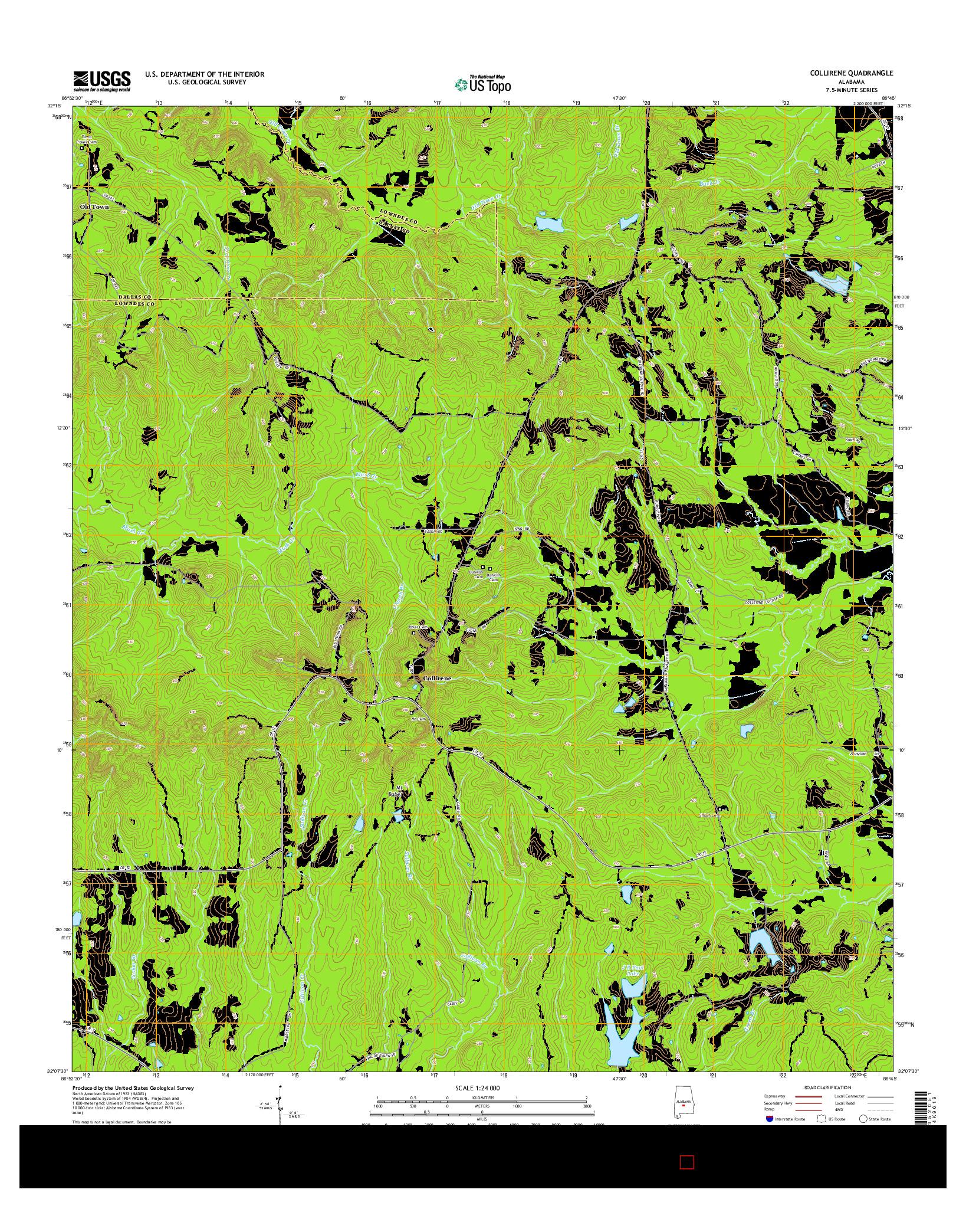 USGS US TOPO 7.5-MINUTE MAP FOR COLLIRENE, AL 2014