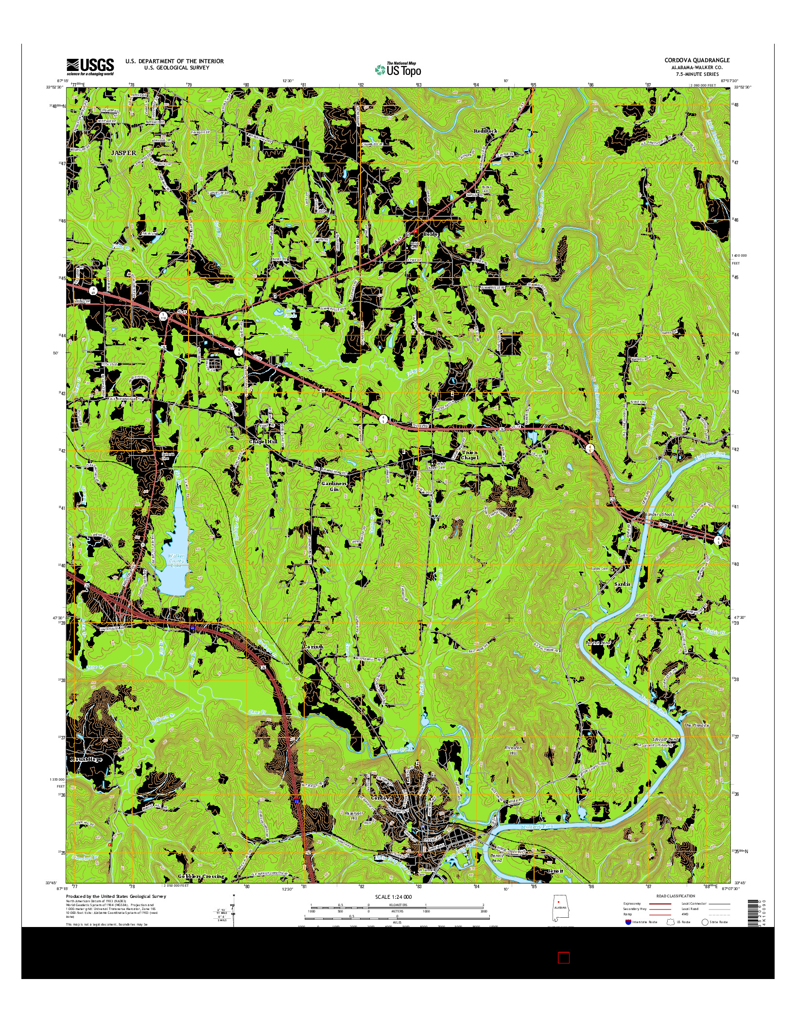 USGS US TOPO 7.5-MINUTE MAP FOR CORDOVA, AL 2014