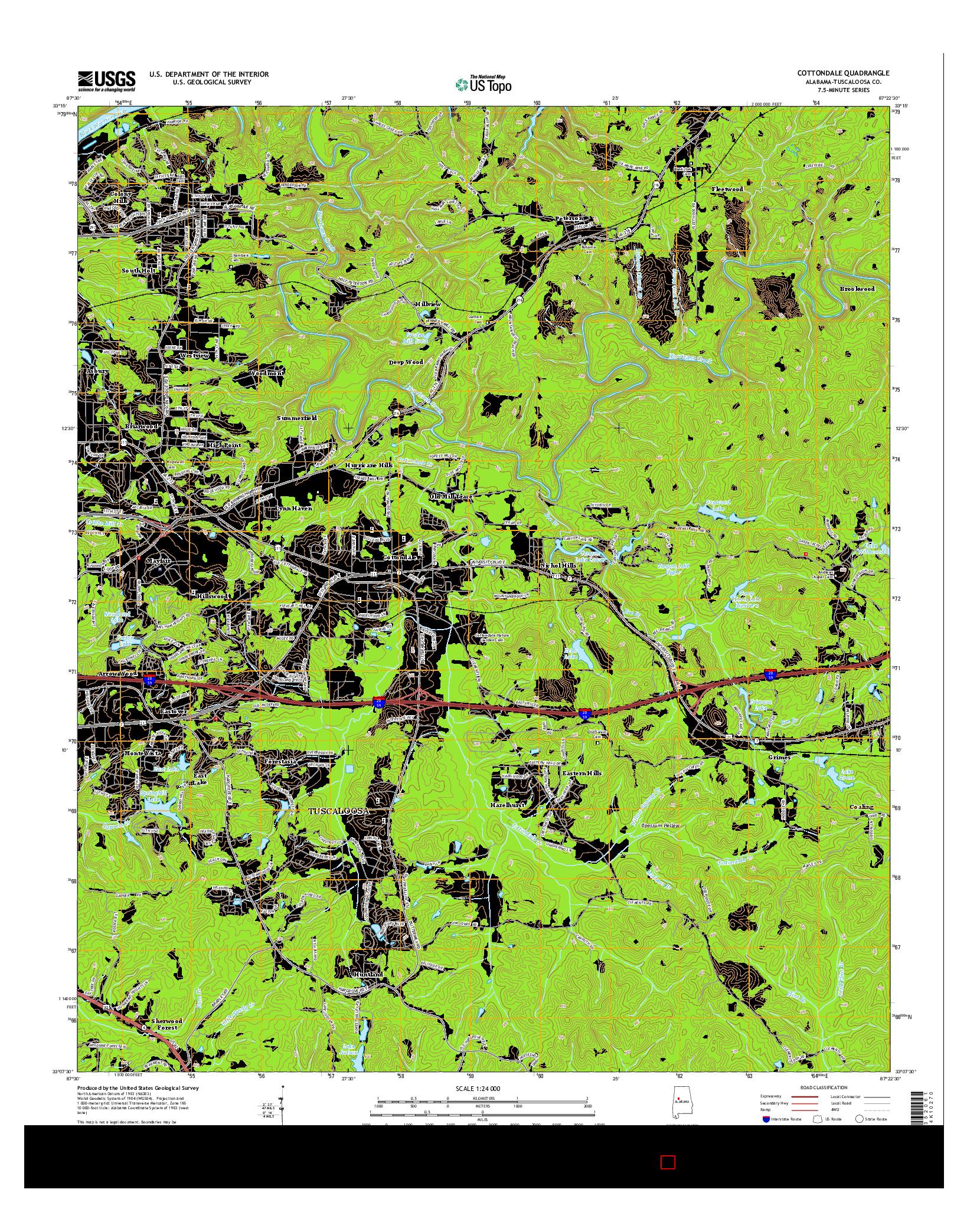 USGS US TOPO 7.5-MINUTE MAP FOR COTTONDALE, AL 2014
