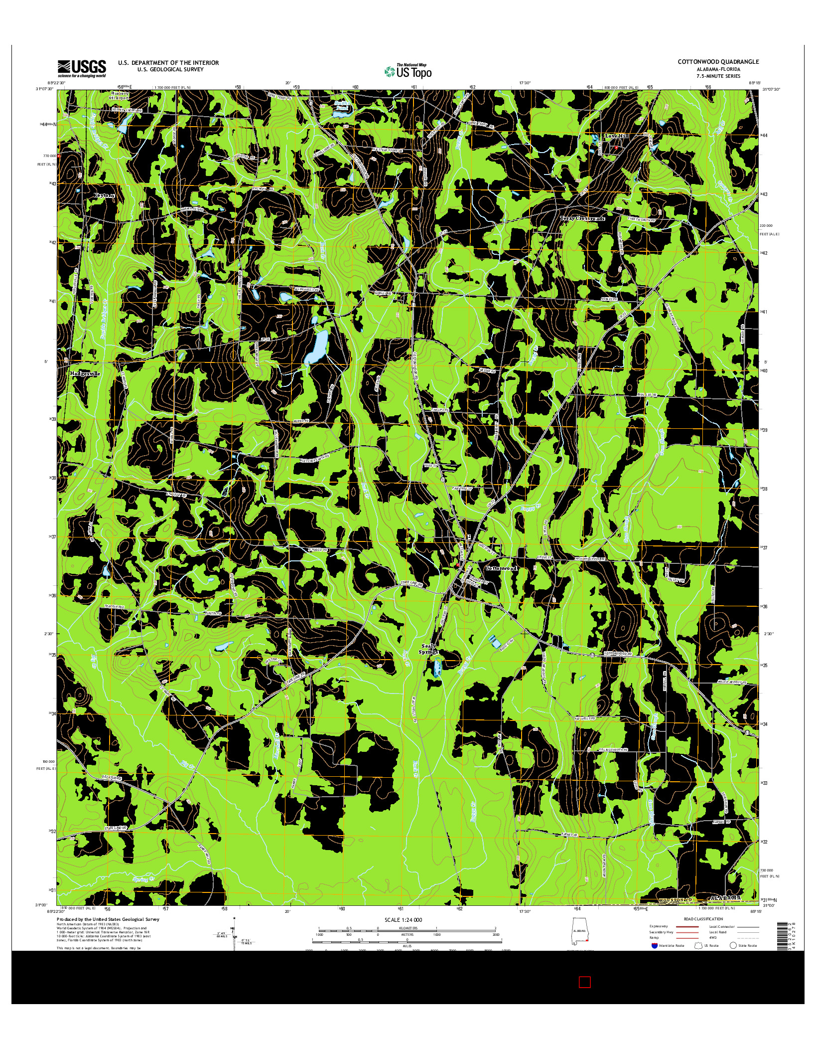 USGS US TOPO 7.5-MINUTE MAP FOR COTTONWOOD, AL-FL 2014