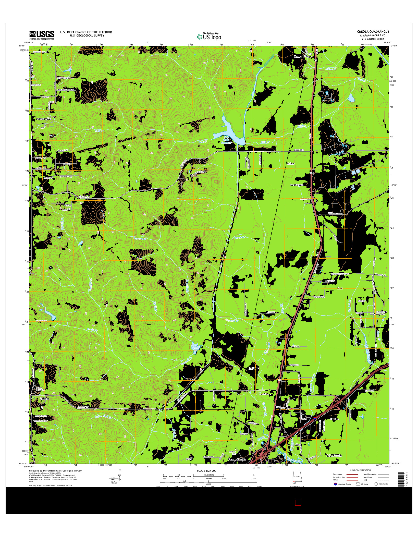 USGS US TOPO 7.5-MINUTE MAP FOR CREOLA, AL 2014