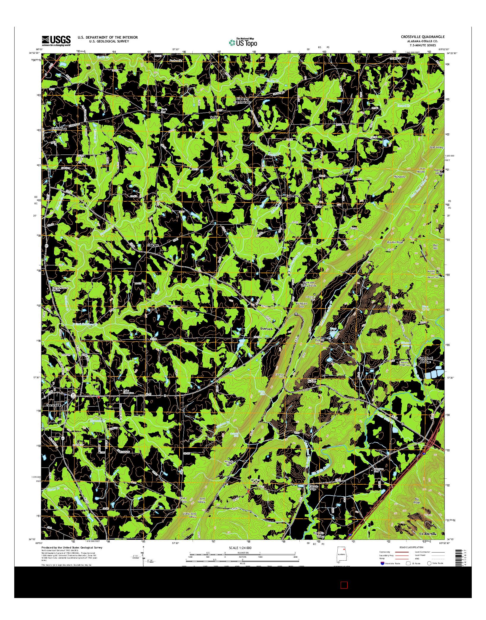 USGS US TOPO 7.5-MINUTE MAP FOR CROSSVILLE, AL 2014