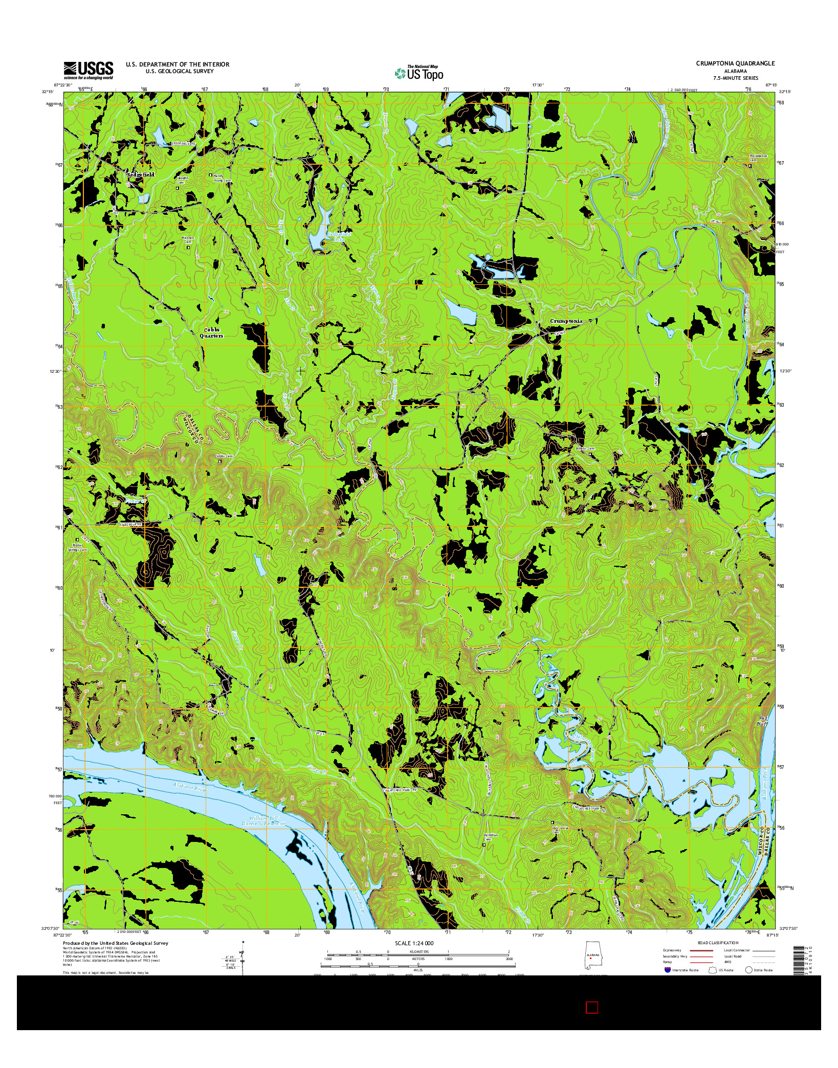 USGS US TOPO 7.5-MINUTE MAP FOR CRUMPTONIA, AL 2014