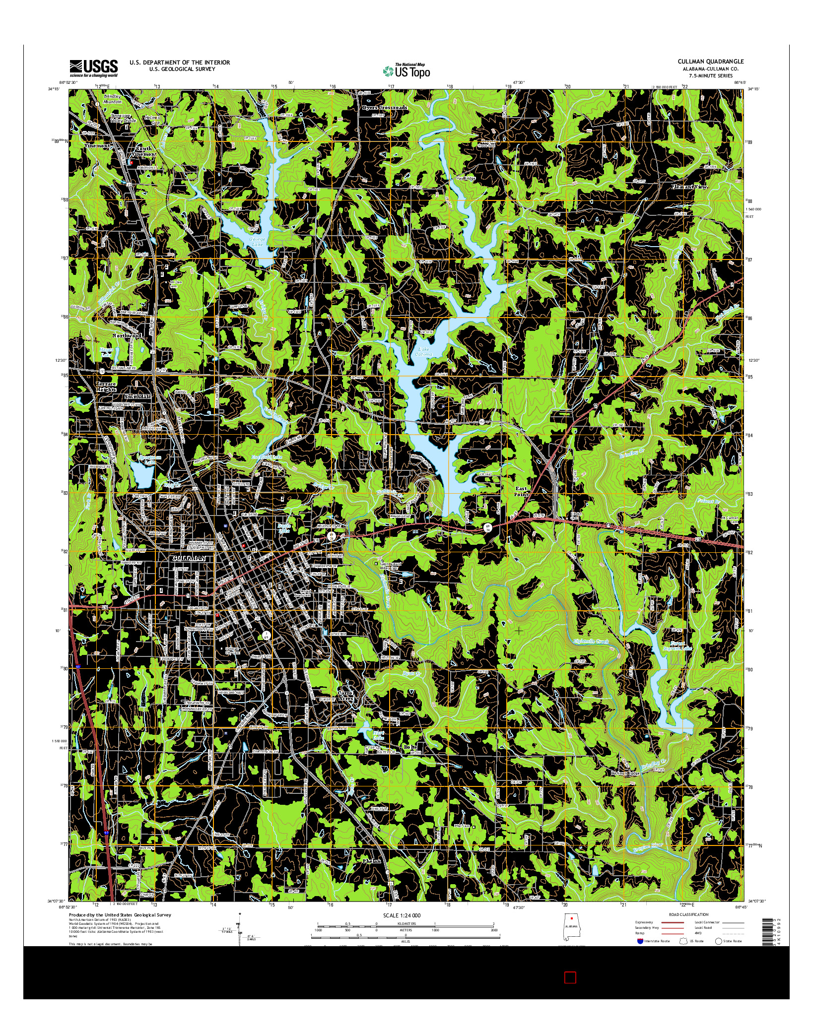 USGS US TOPO 7.5-MINUTE MAP FOR CULLMAN, AL 2014