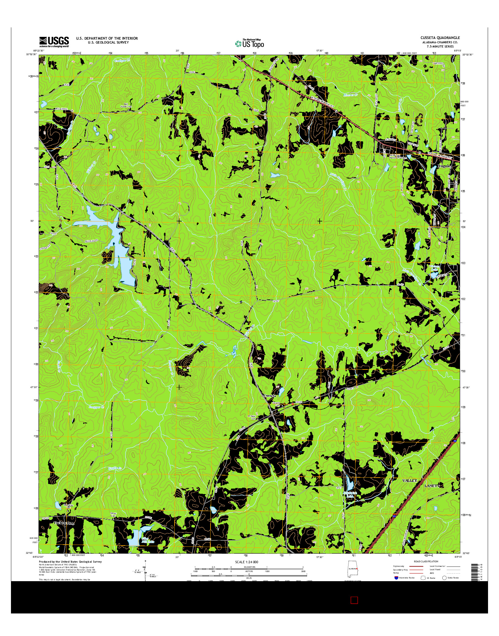 USGS US TOPO 7.5-MINUTE MAP FOR CUSSETA, AL 2014