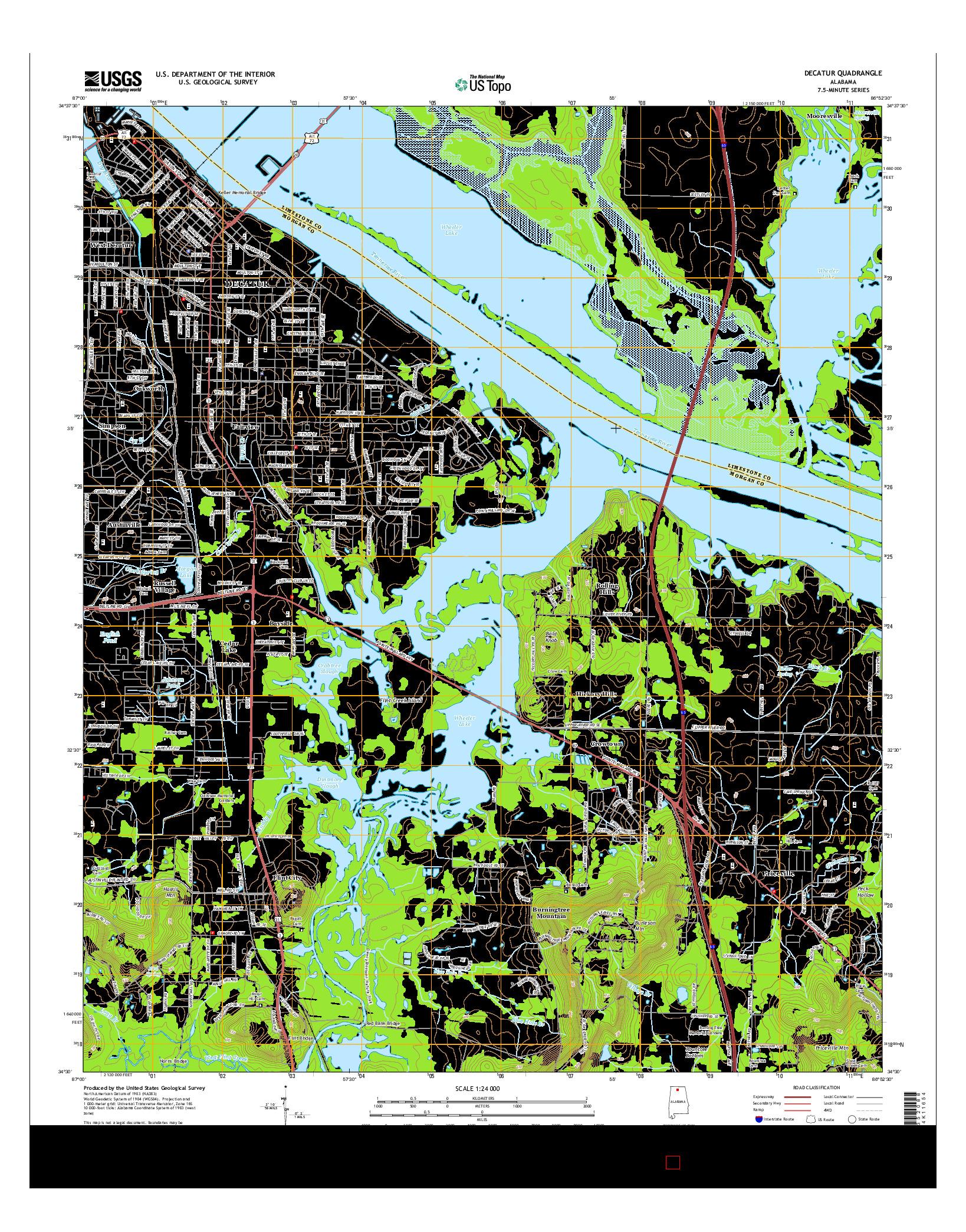 USGS US TOPO 7.5-MINUTE MAP FOR DECATUR, AL 2014
