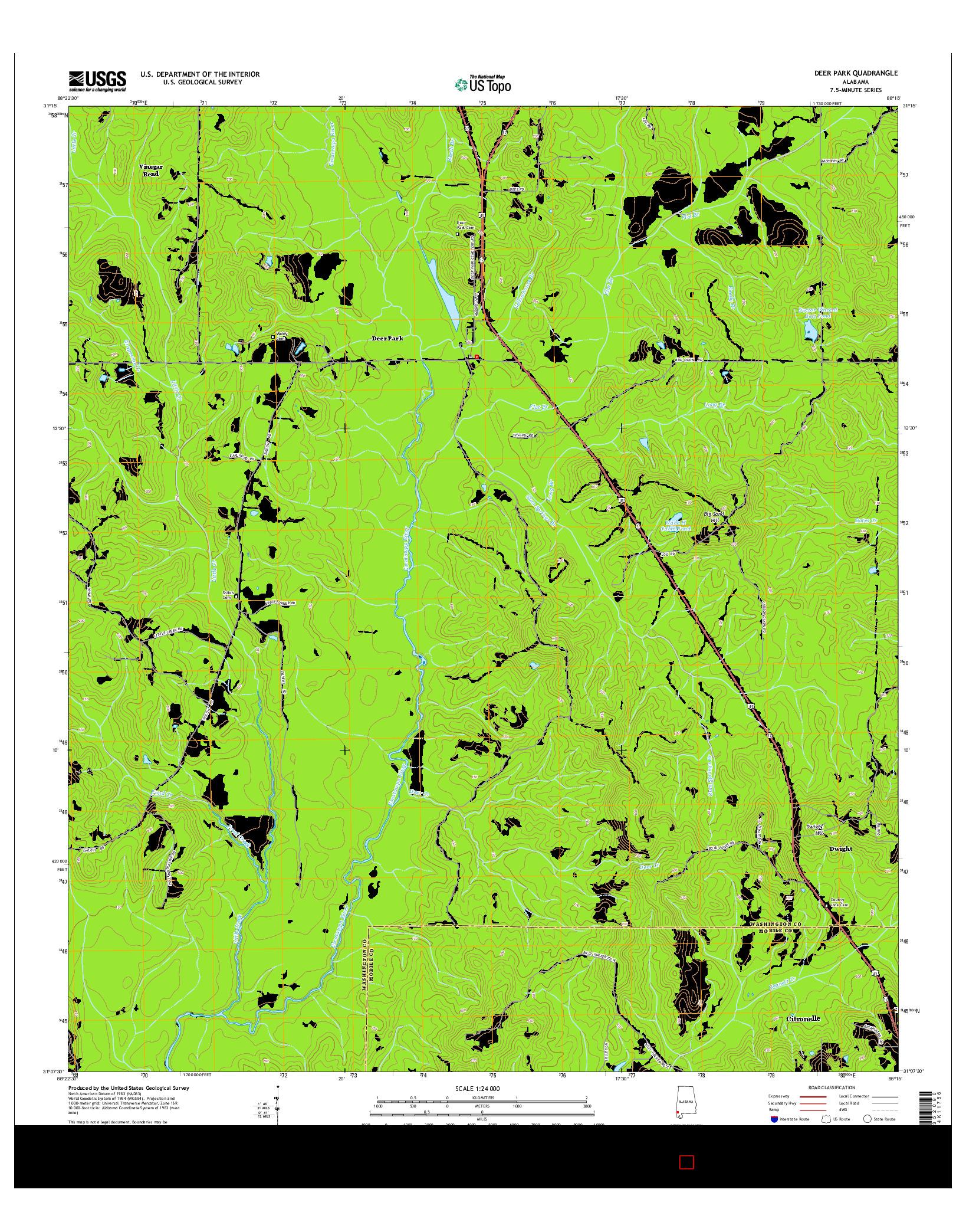 USGS US TOPO 7.5-MINUTE MAP FOR DEER PARK, AL 2014