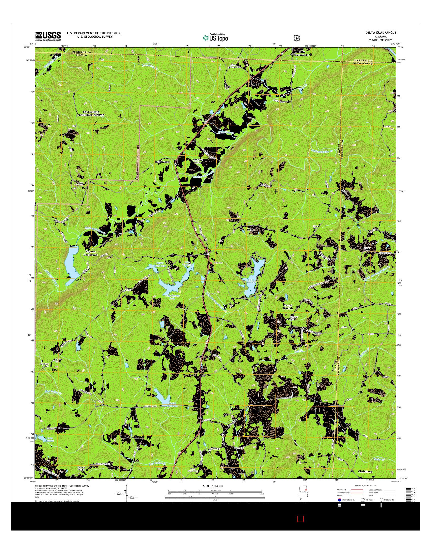 USGS US TOPO 7.5-MINUTE MAP FOR DELTA, AL 2014