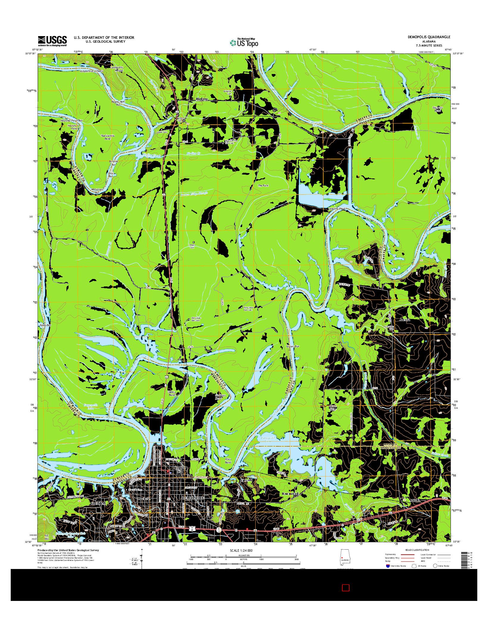 USGS US TOPO 7.5-MINUTE MAP FOR DEMOPOLIS, AL 2014