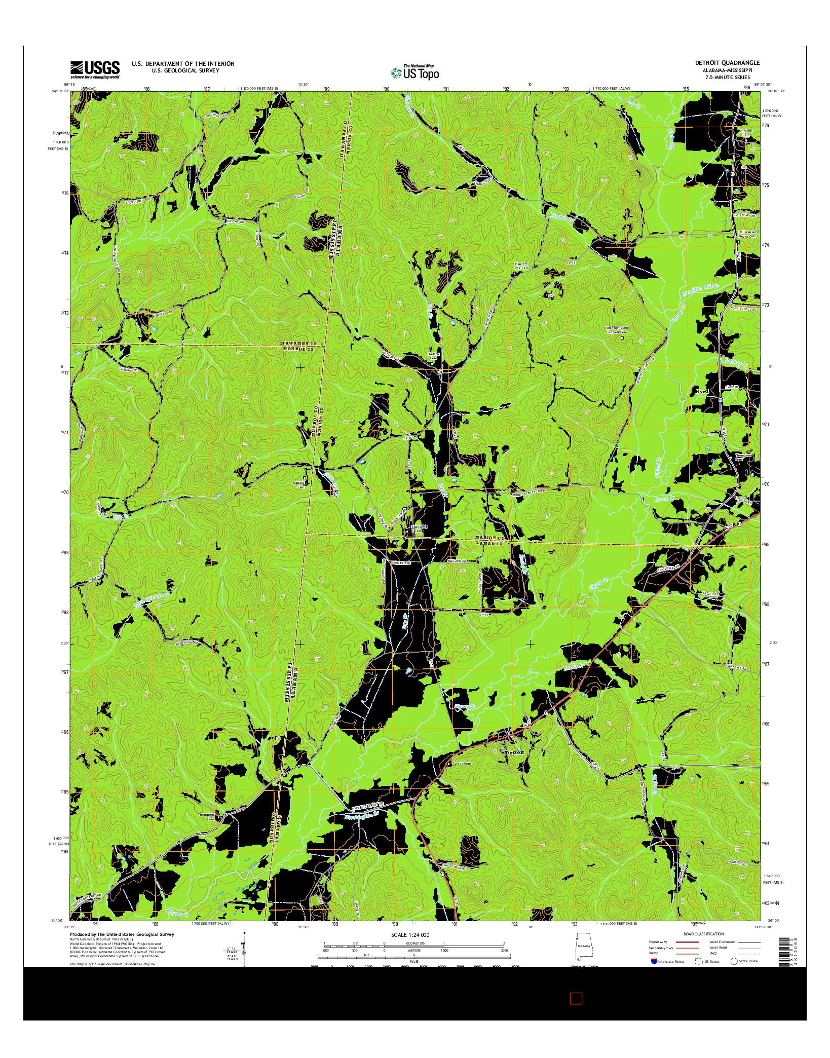 USGS US TOPO 7.5-MINUTE MAP FOR DETROIT, AL-MS 2014