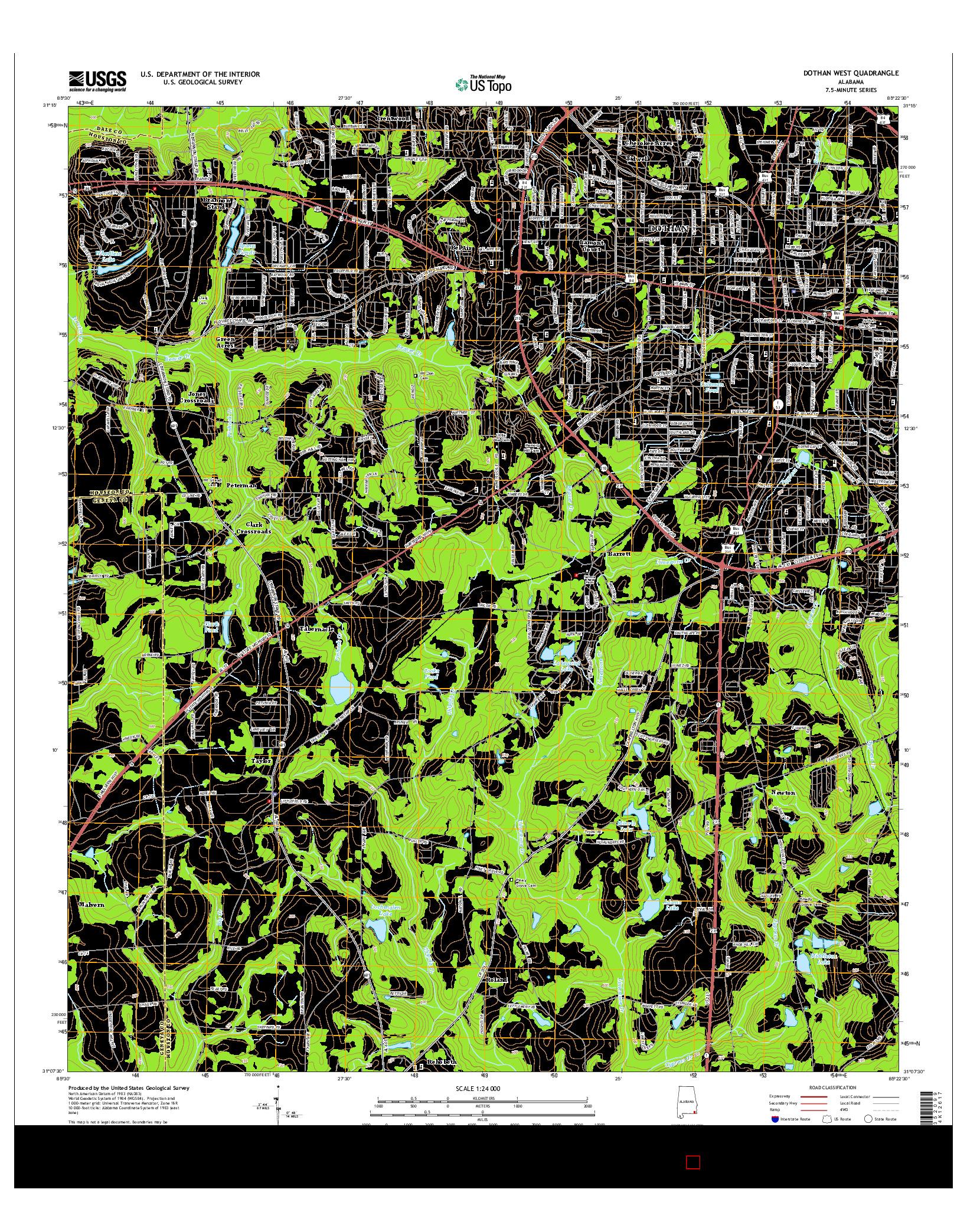 USGS US TOPO 7.5-MINUTE MAP FOR DOTHAN WEST, AL 2014