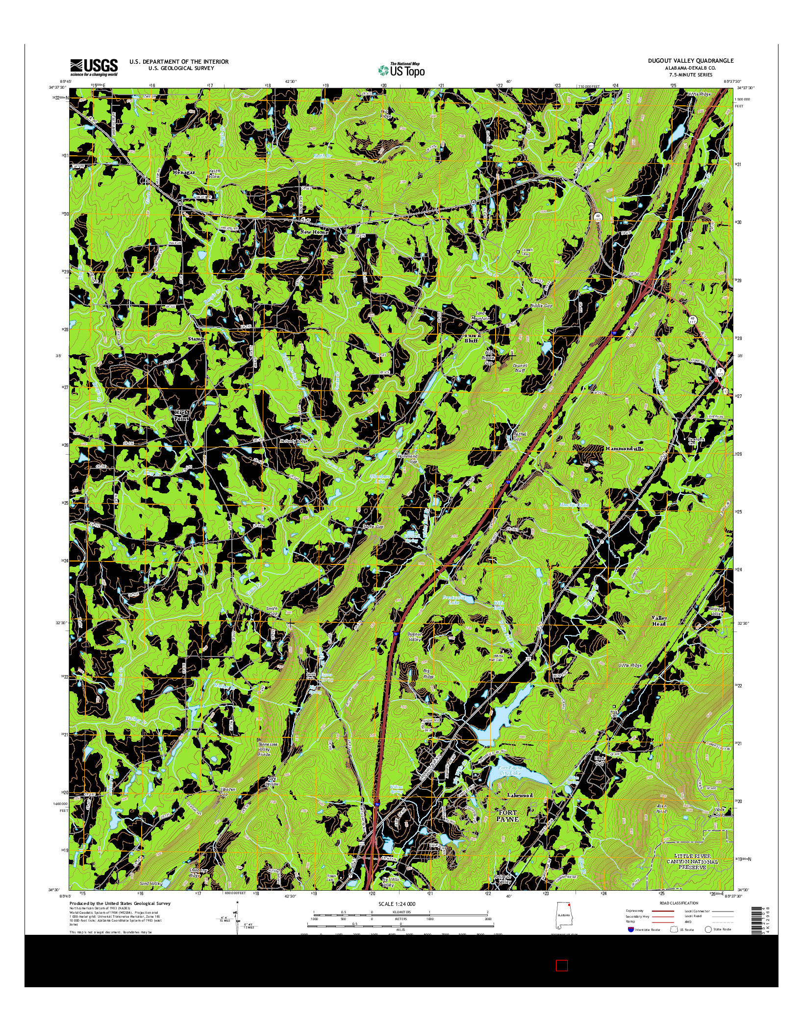 USGS US TOPO 7.5-MINUTE MAP FOR DUGOUT VALLEY, AL 2014