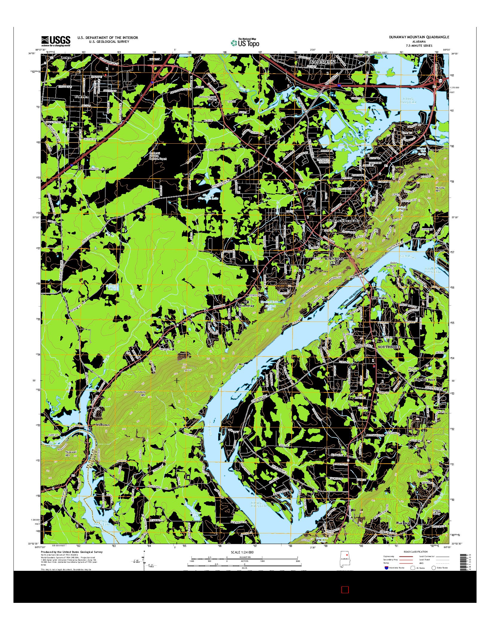 USGS US TOPO 7.5-MINUTE MAP FOR DUNAWAY MOUNTAIN, AL 2014