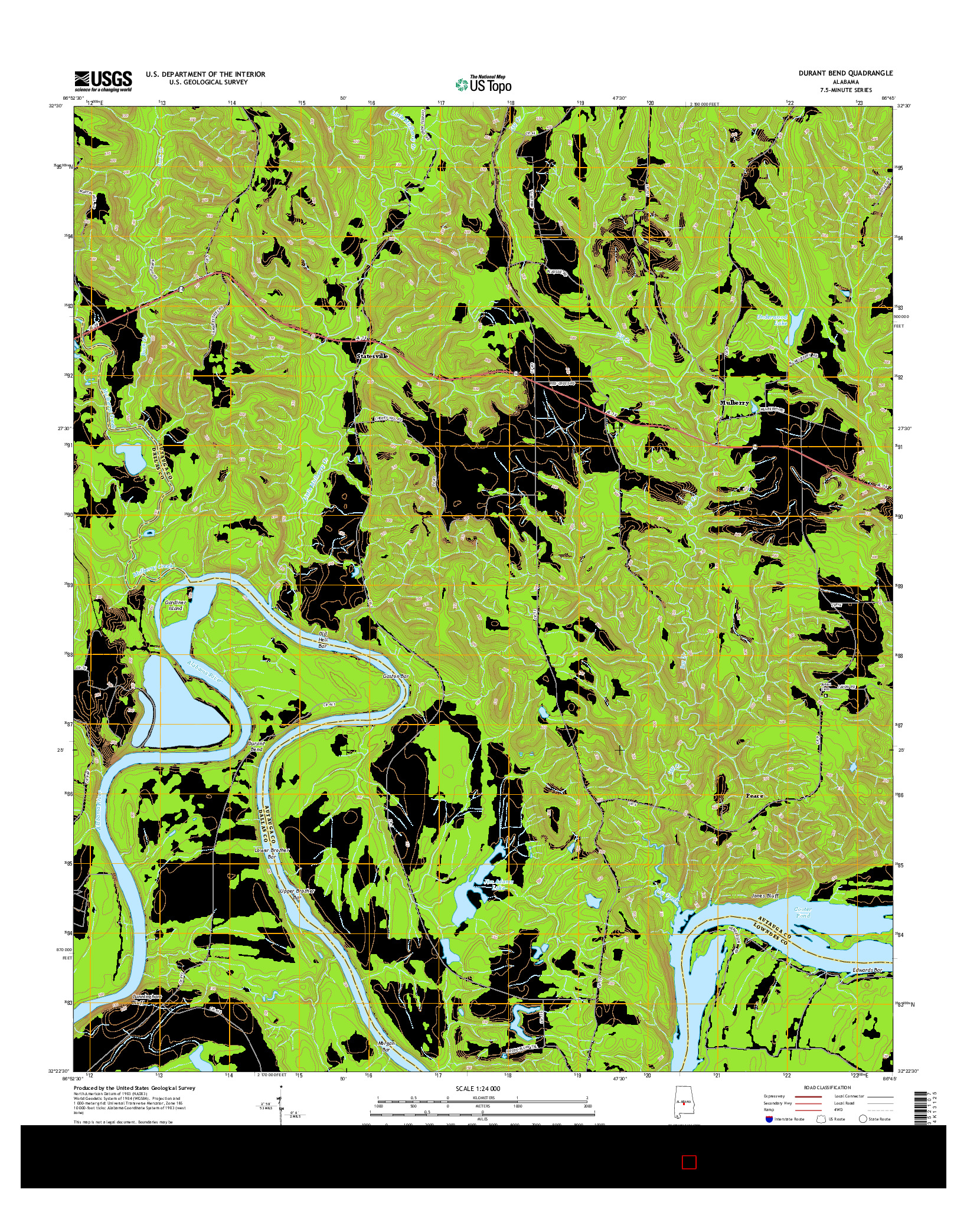 USGS US TOPO 7.5-MINUTE MAP FOR DURANT BEND, AL 2014