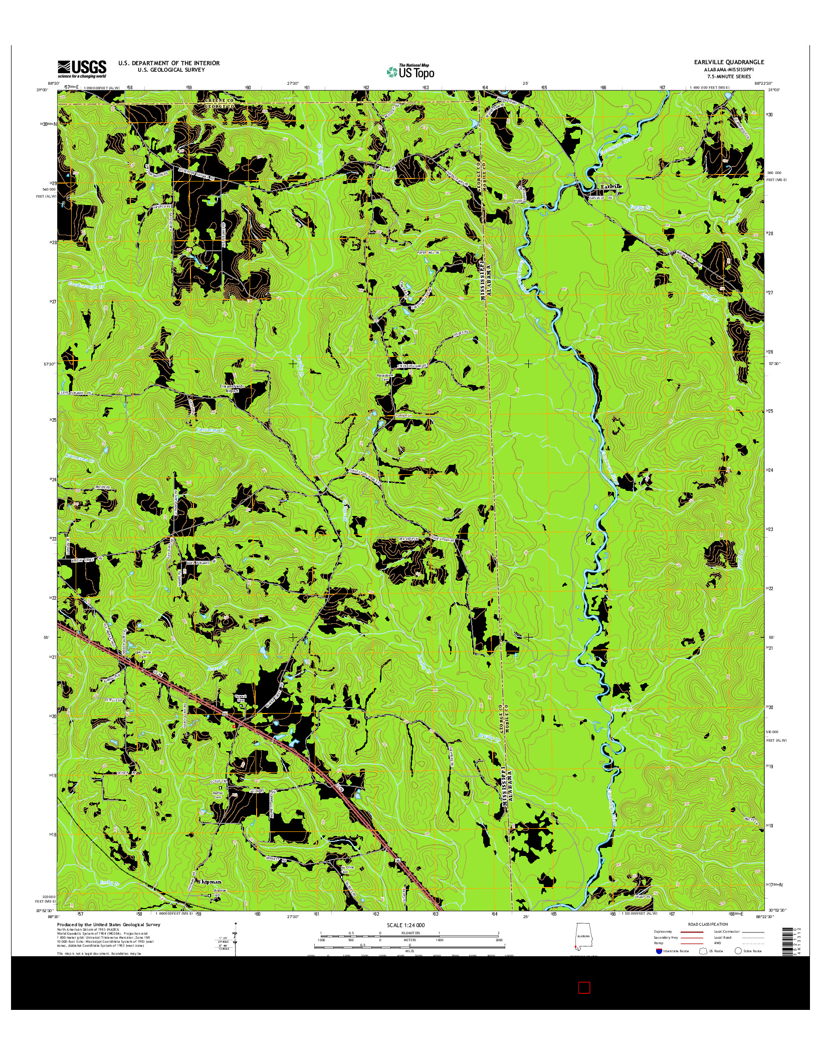 USGS US TOPO 7.5-MINUTE MAP FOR EARLVILLE, AL-MS 2014