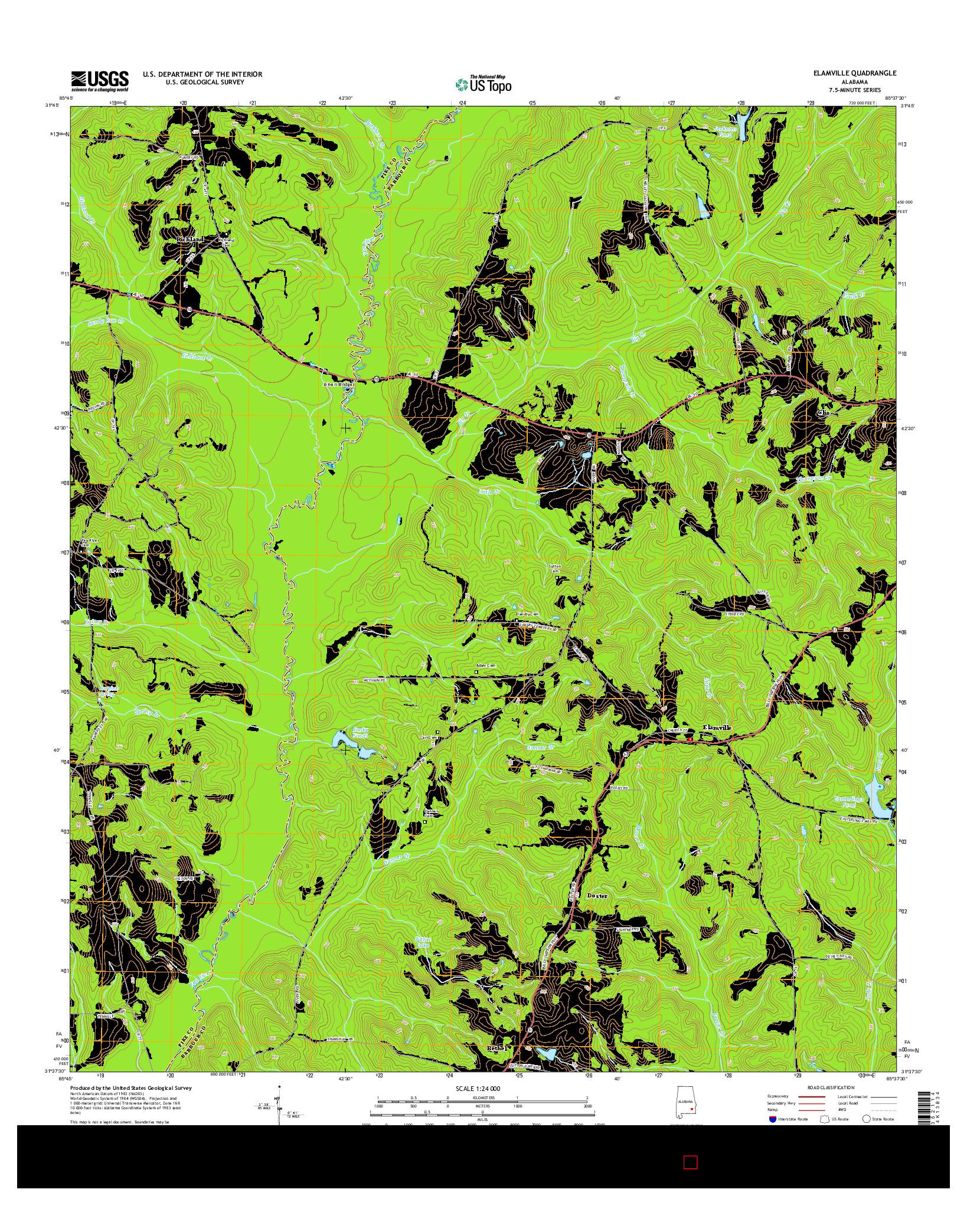USGS US TOPO 7.5-MINUTE MAP FOR ELAMVILLE, AL 2014