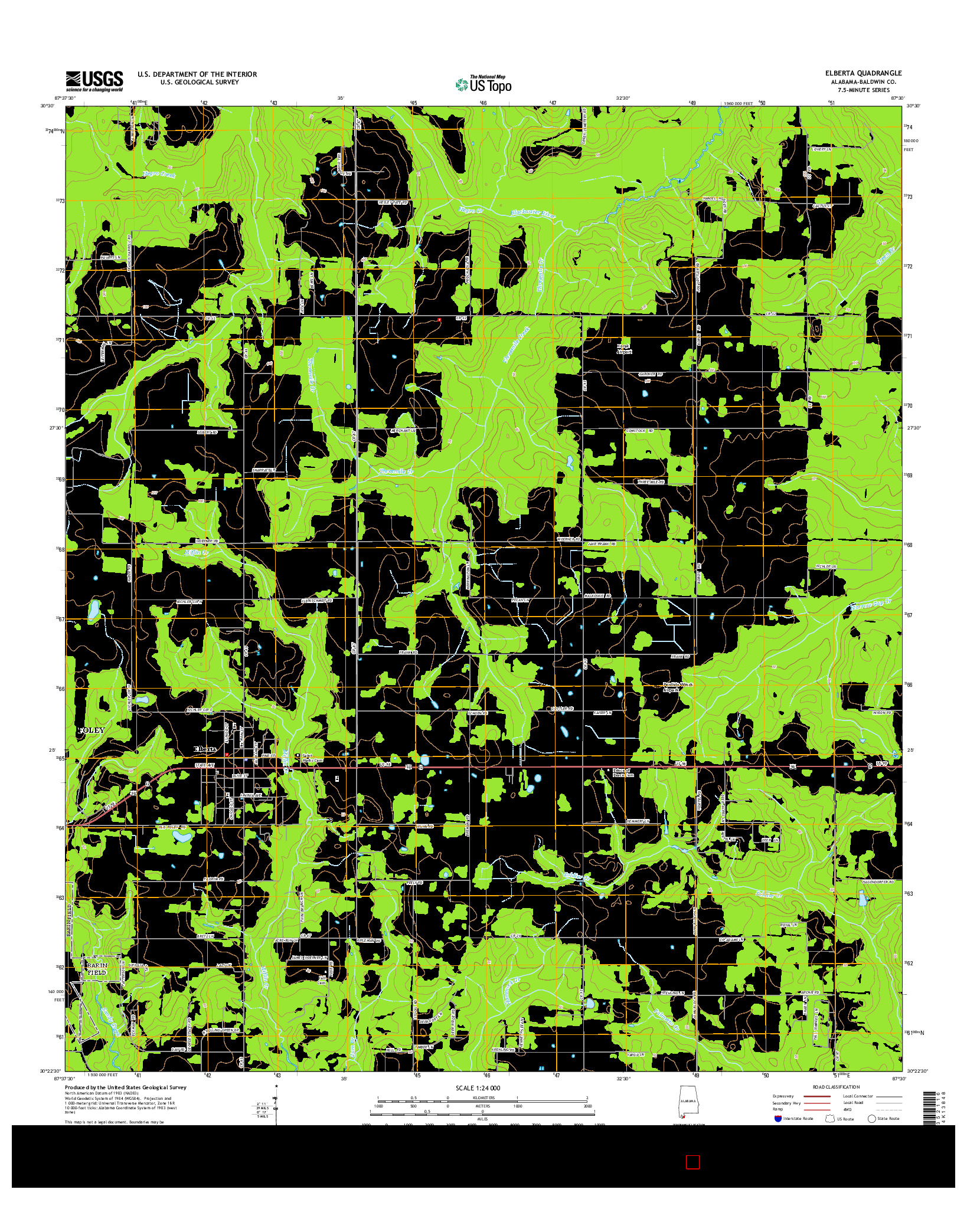 USGS US TOPO 7.5-MINUTE MAP FOR ELBERTA, AL 2014