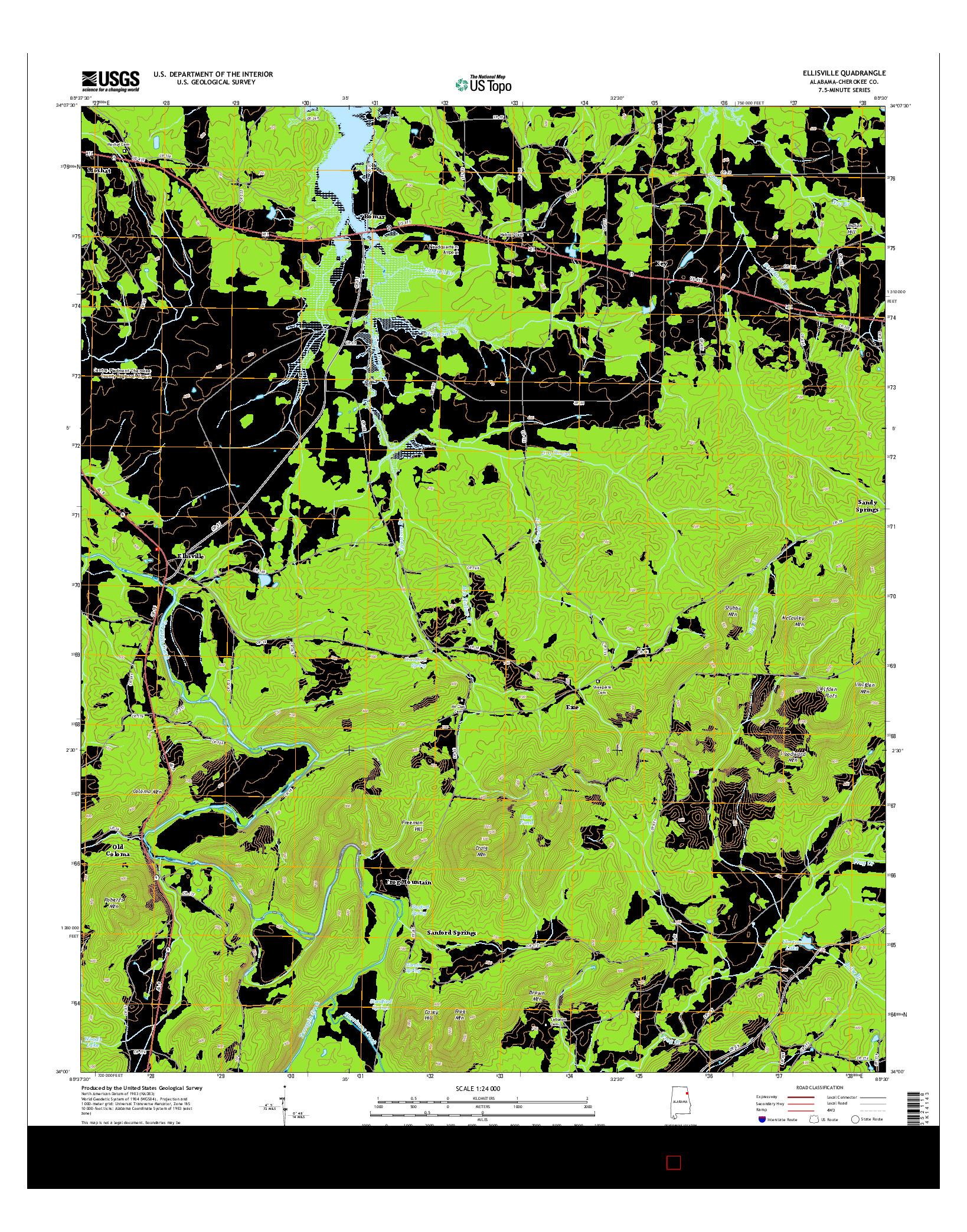 USGS US TOPO 7.5-MINUTE MAP FOR ELLISVILLE, AL 2014