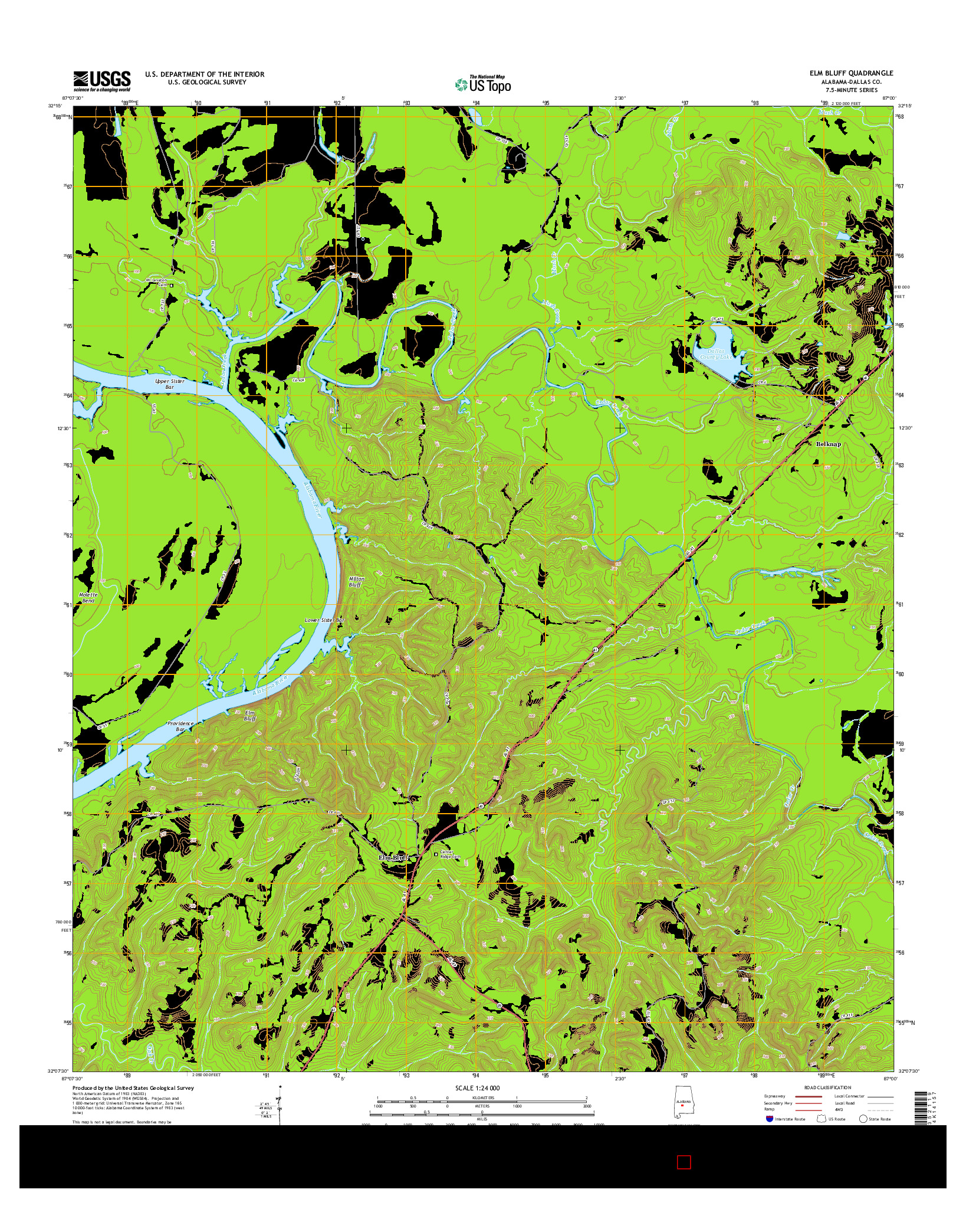 USGS US TOPO 7.5-MINUTE MAP FOR ELM BLUFF, AL 2014