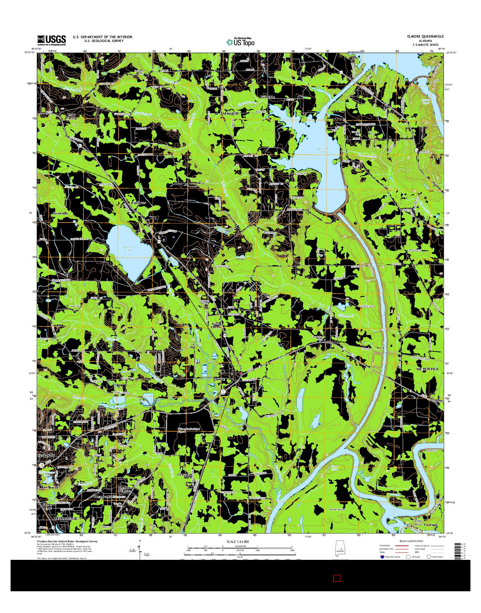 USGS US TOPO 7.5-MINUTE MAP FOR ELMORE, AL 2014
