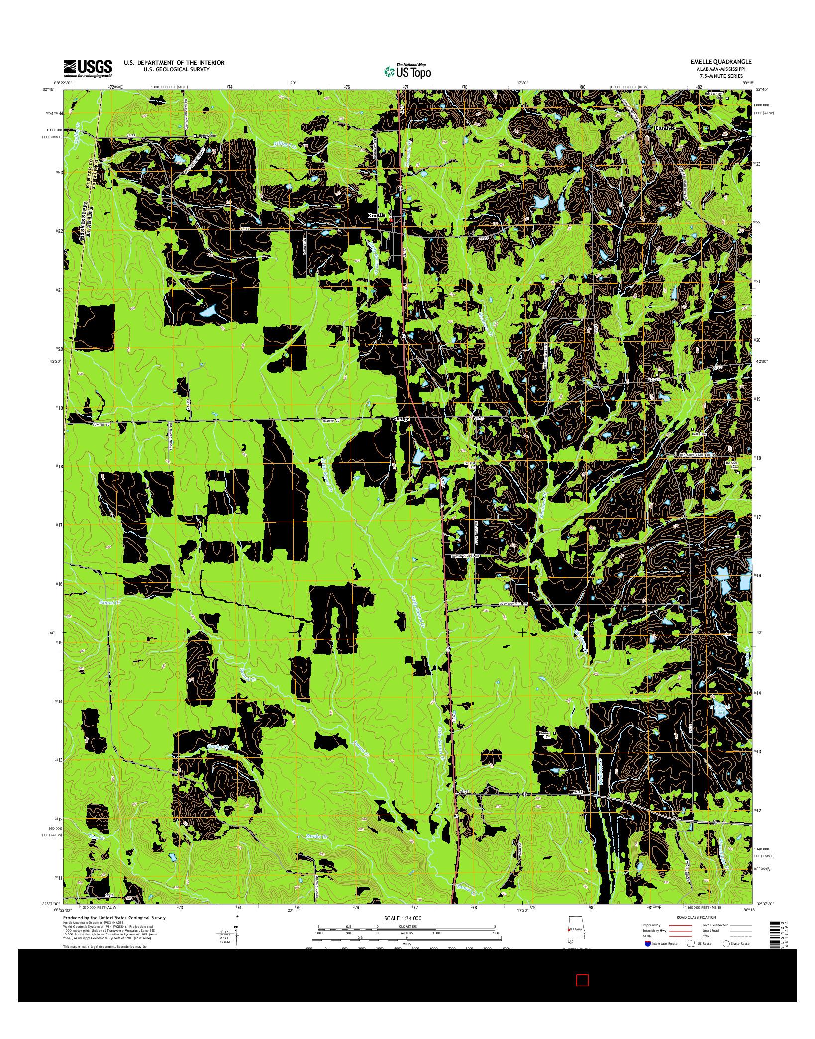 USGS US TOPO 7.5-MINUTE MAP FOR EMELLE, AL-MS 2014