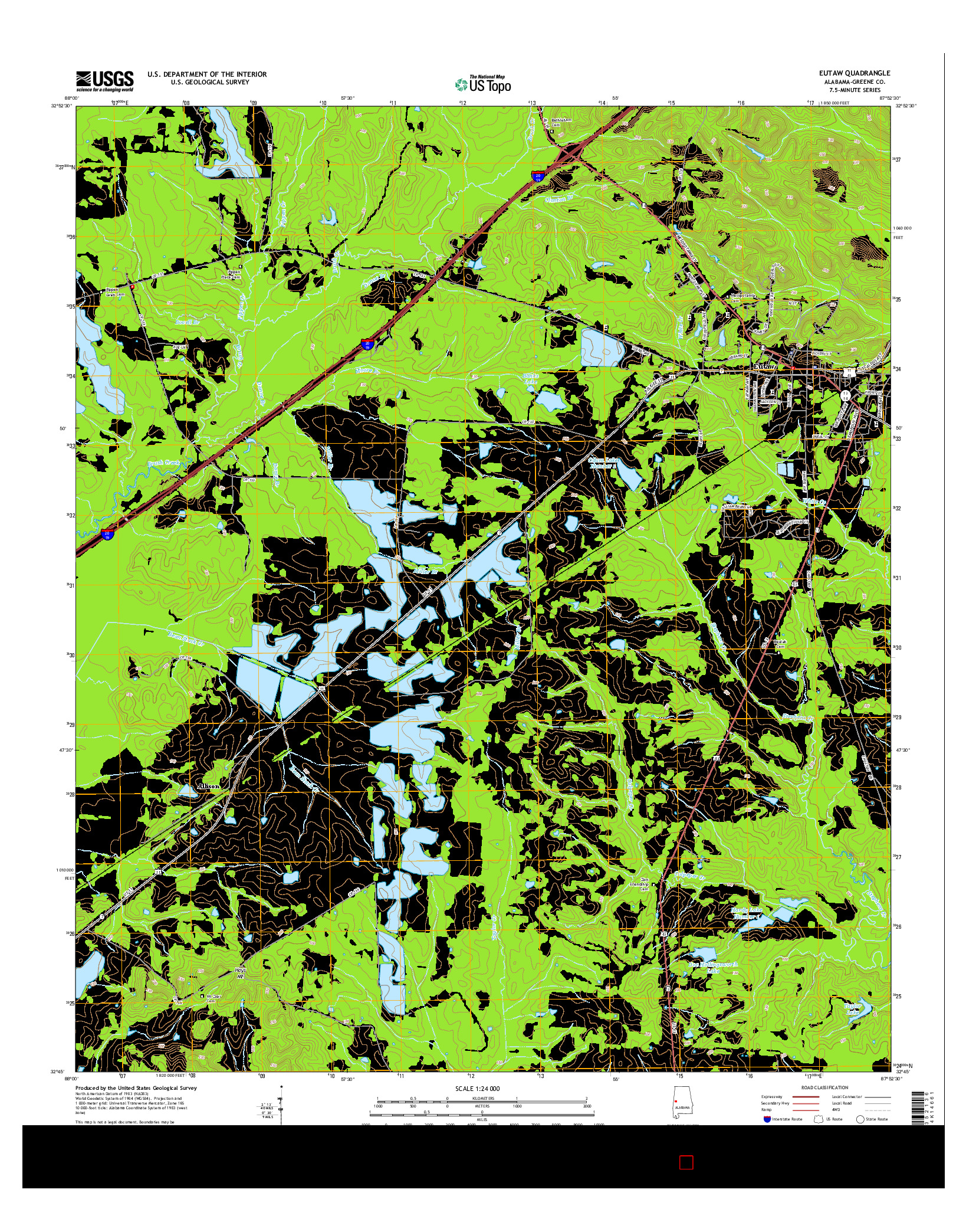 USGS US TOPO 7.5-MINUTE MAP FOR EUTAW, AL 2014