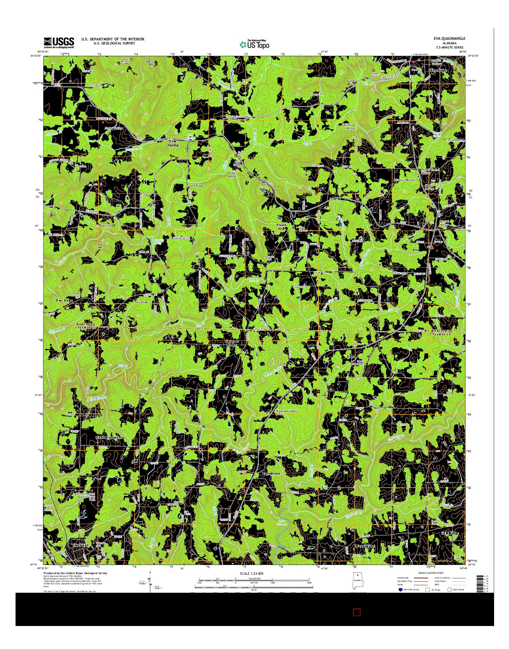 USGS US TOPO 7.5-MINUTE MAP FOR EVA, AL 2014