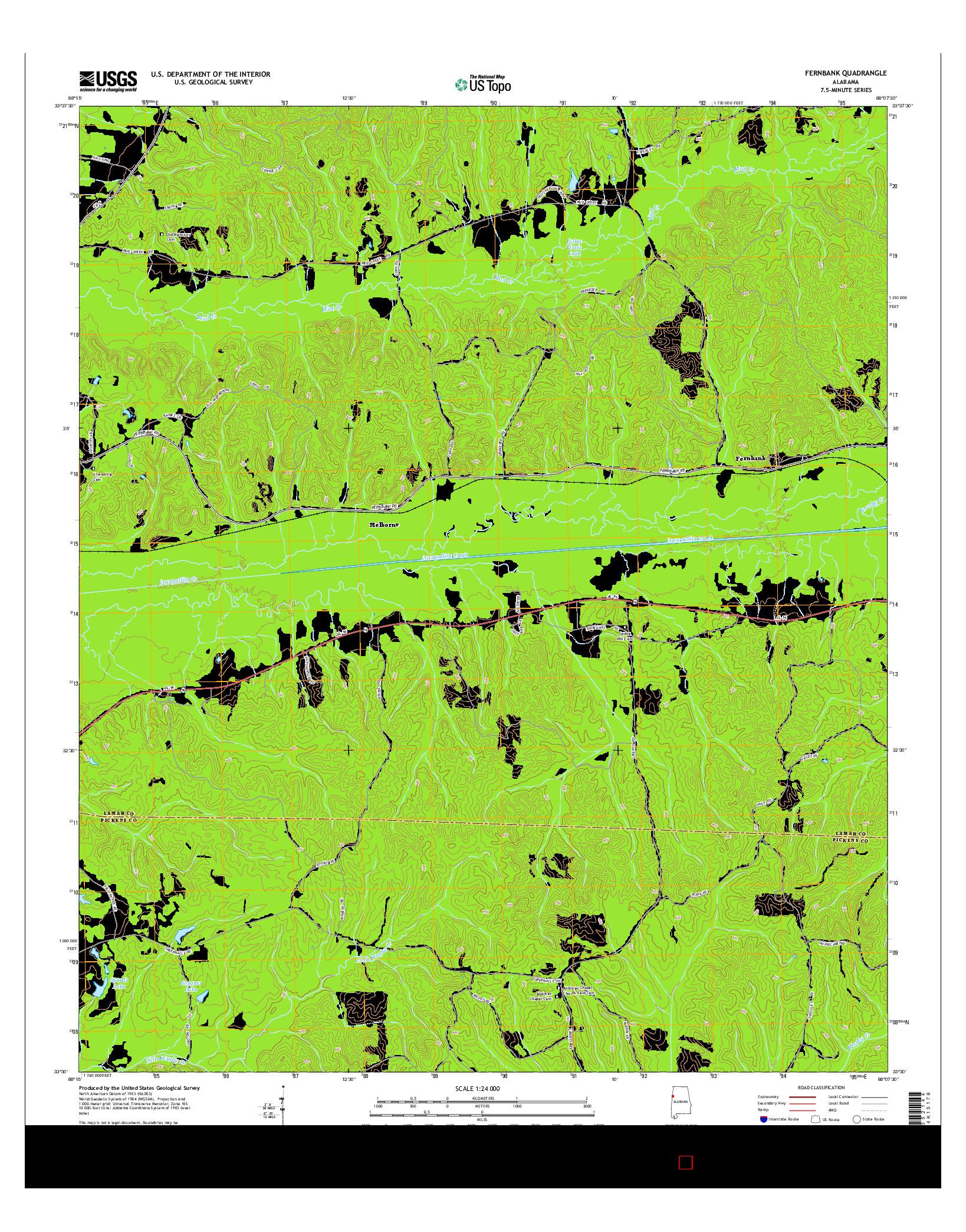 USGS US TOPO 7.5-MINUTE MAP FOR FERNBANK, AL 2014