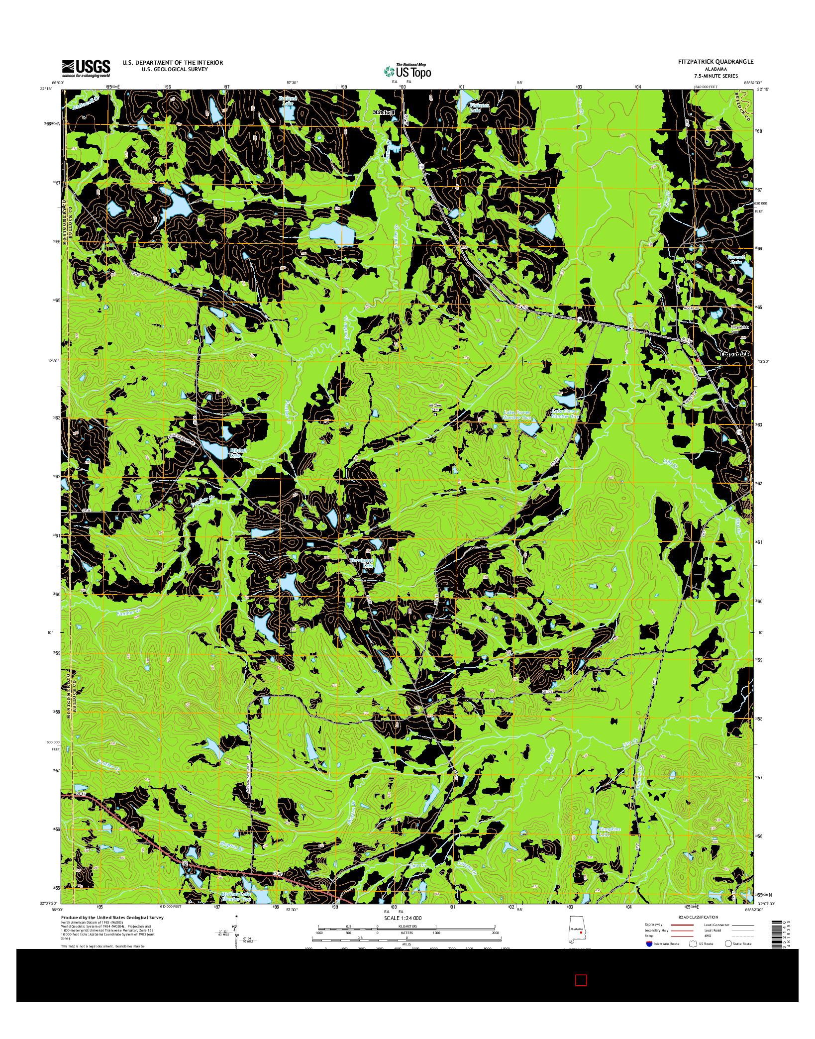 USGS US TOPO 7.5-MINUTE MAP FOR FITZPATRICK, AL 2014