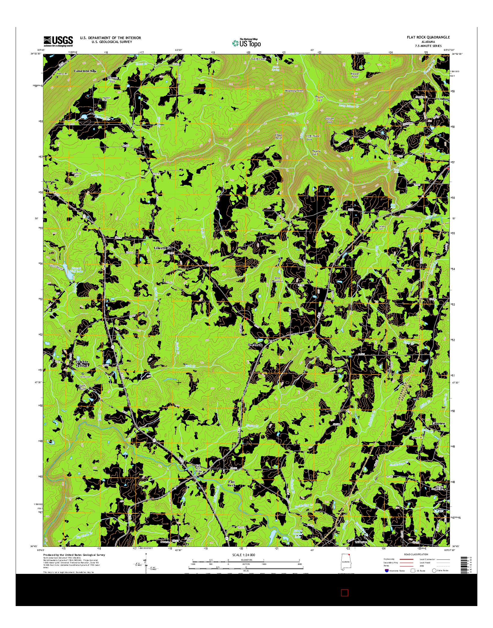 USGS US TOPO 7.5-MINUTE MAP FOR FLAT ROCK, AL 2014