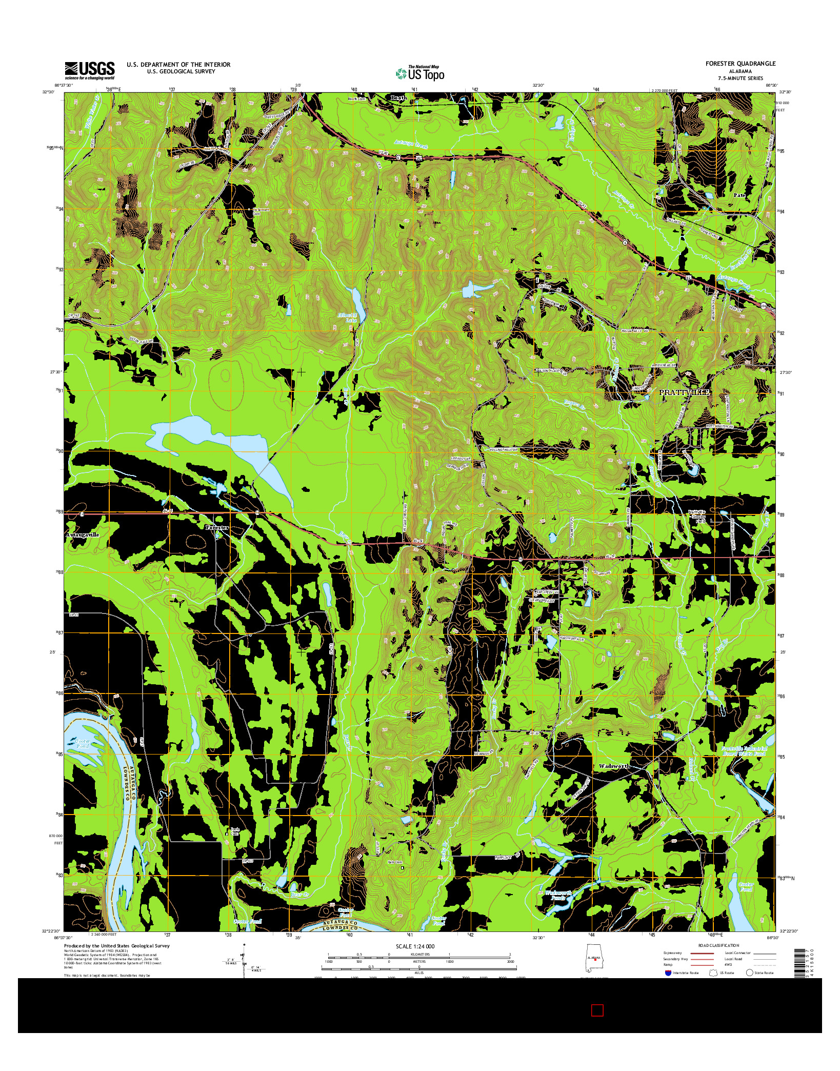 USGS US TOPO 7.5-MINUTE MAP FOR FORESTER, AL 2014