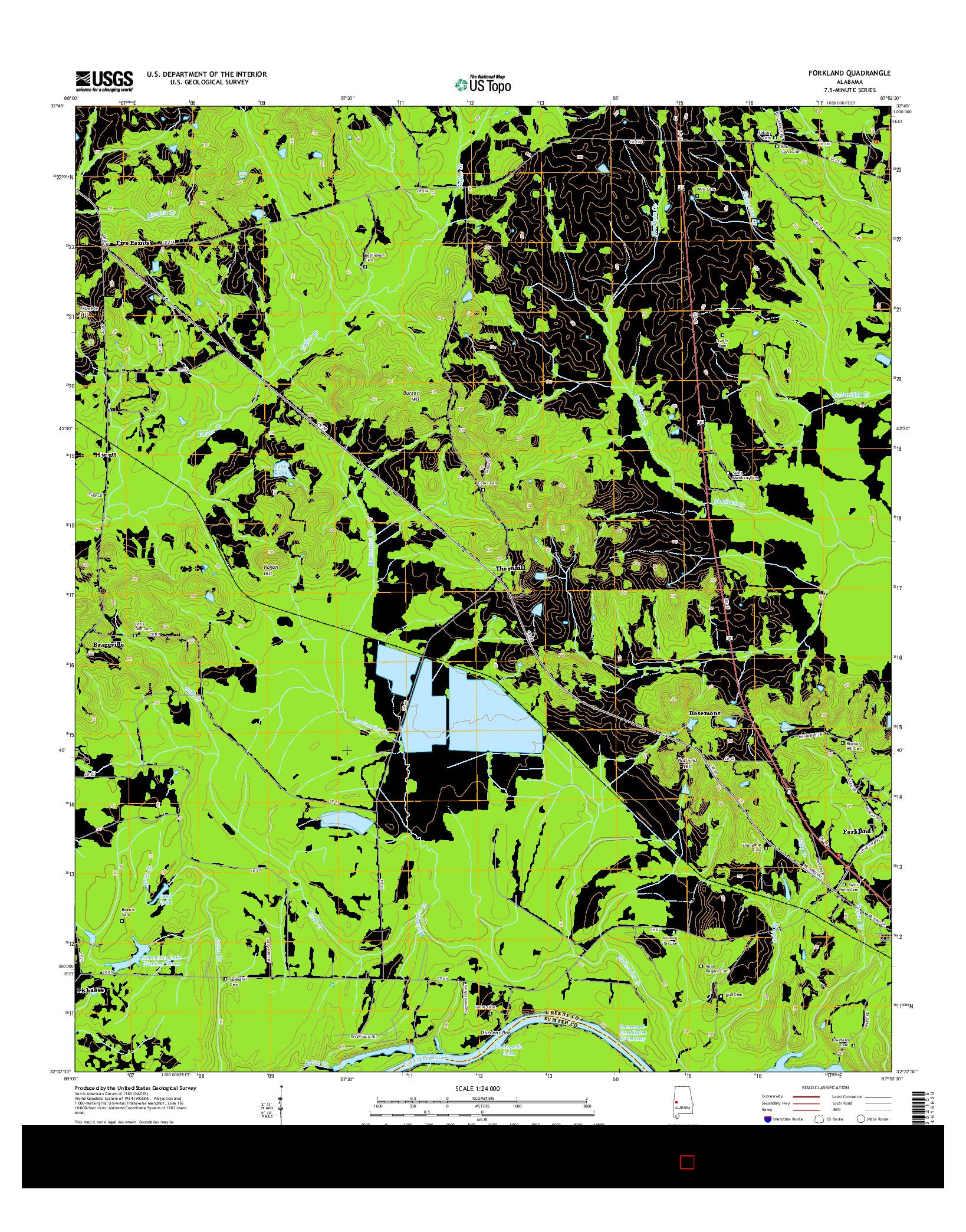 USGS US TOPO 7.5-MINUTE MAP FOR FORKLAND, AL 2014