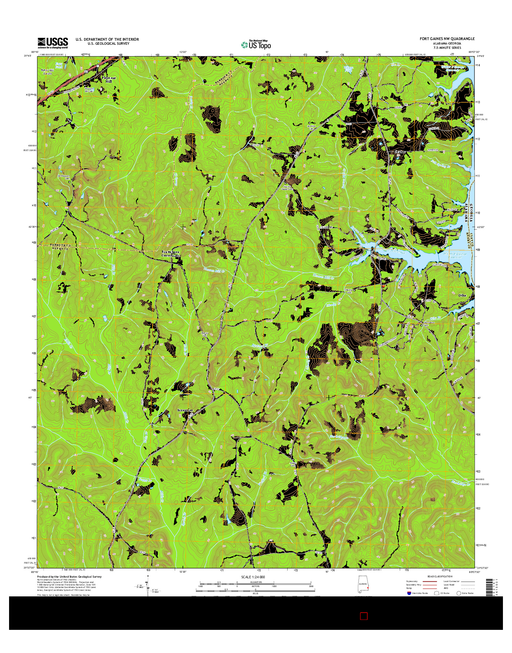 USGS US TOPO 7.5-MINUTE MAP FOR FORT GAINES NW, AL-GA 2014