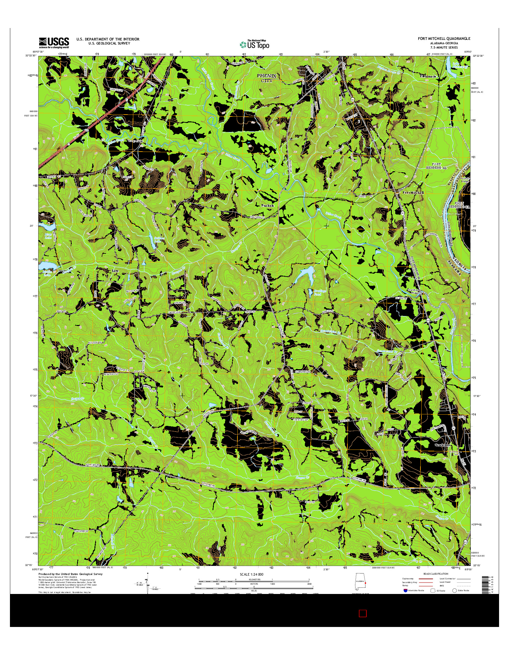 USGS US TOPO 7.5-MINUTE MAP FOR FORT MITCHELL, AL-GA 2014