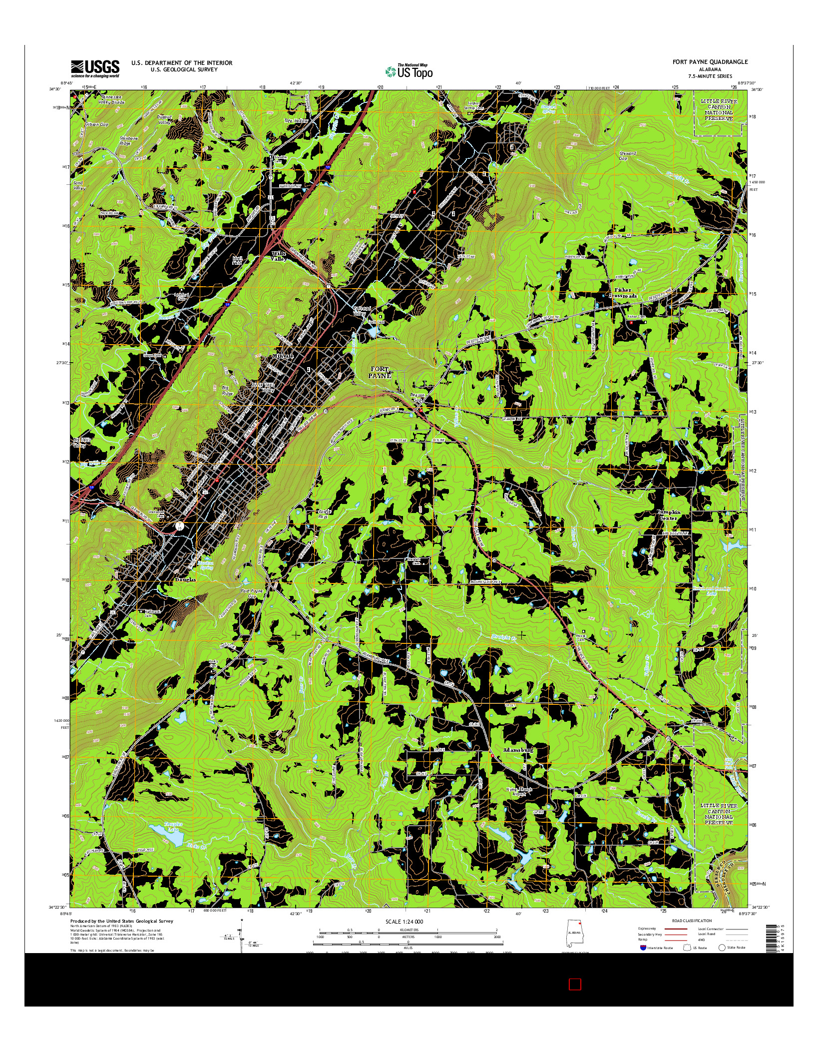 USGS US TOPO 7.5-MINUTE MAP FOR FORT PAYNE, AL 2014