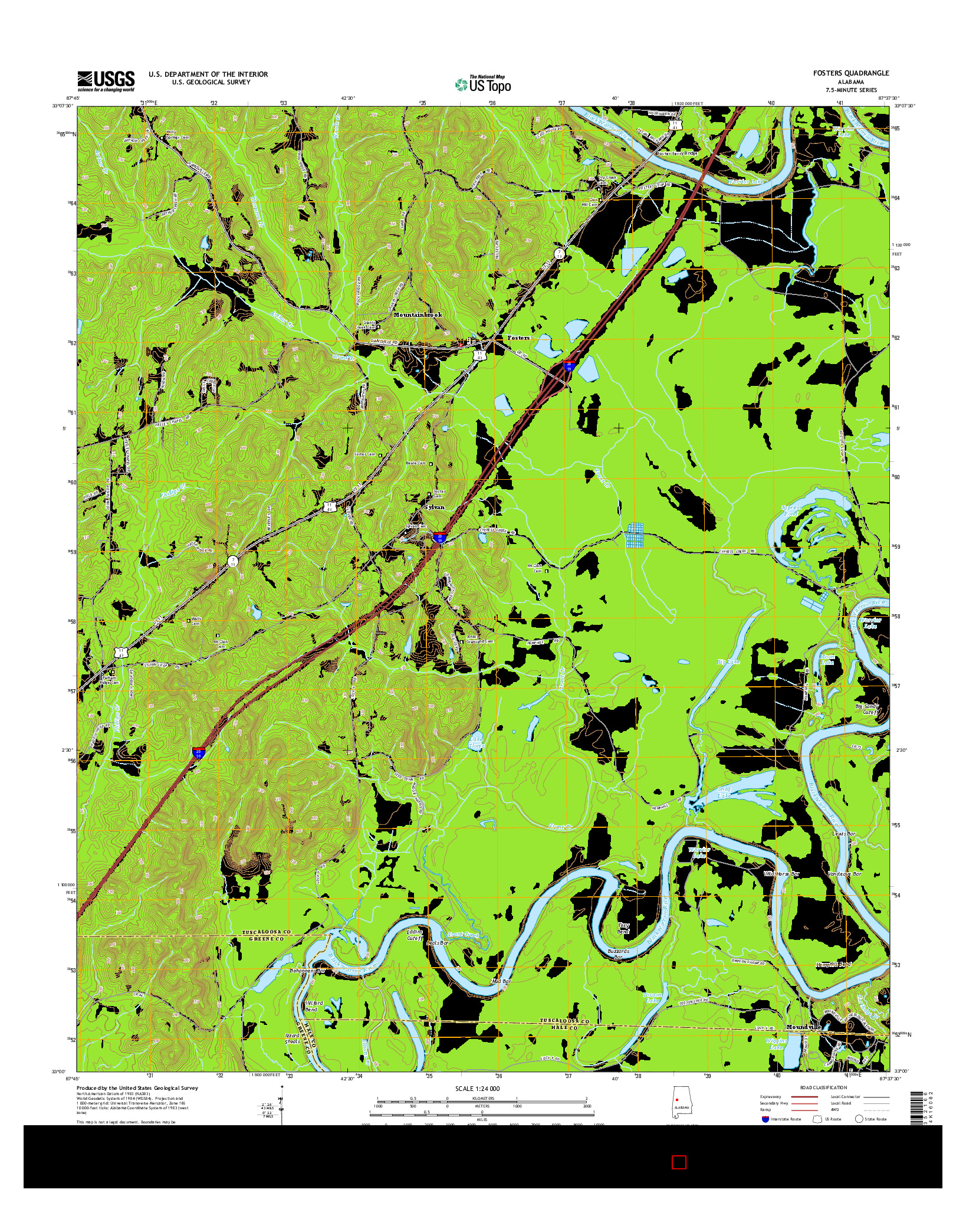 USGS US TOPO 7.5-MINUTE MAP FOR FOSTERS, AL 2014