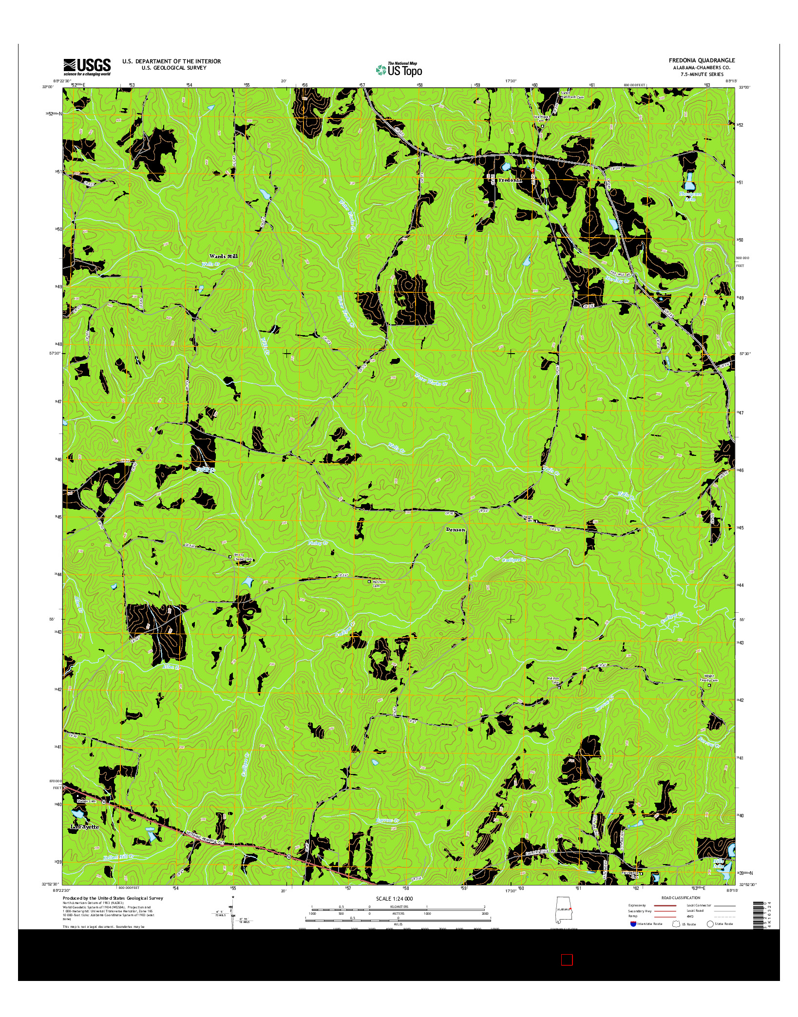 USGS US TOPO 7.5-MINUTE MAP FOR FREDONIA, AL 2014